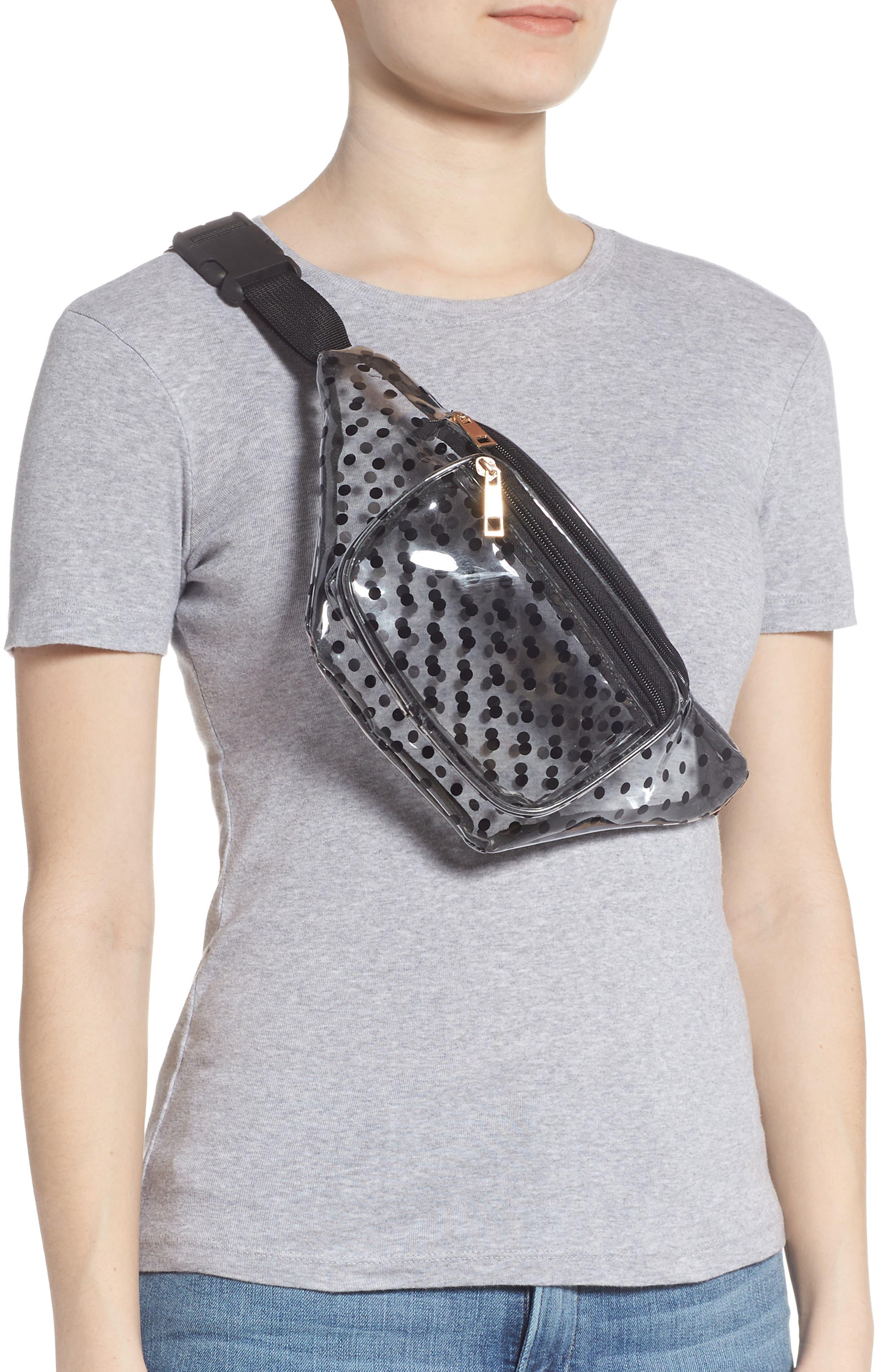 JANE & BERRY,                             Polka Dot Transparent Belt Bag,                             Alternate thumbnail 3, color,                             BLACK