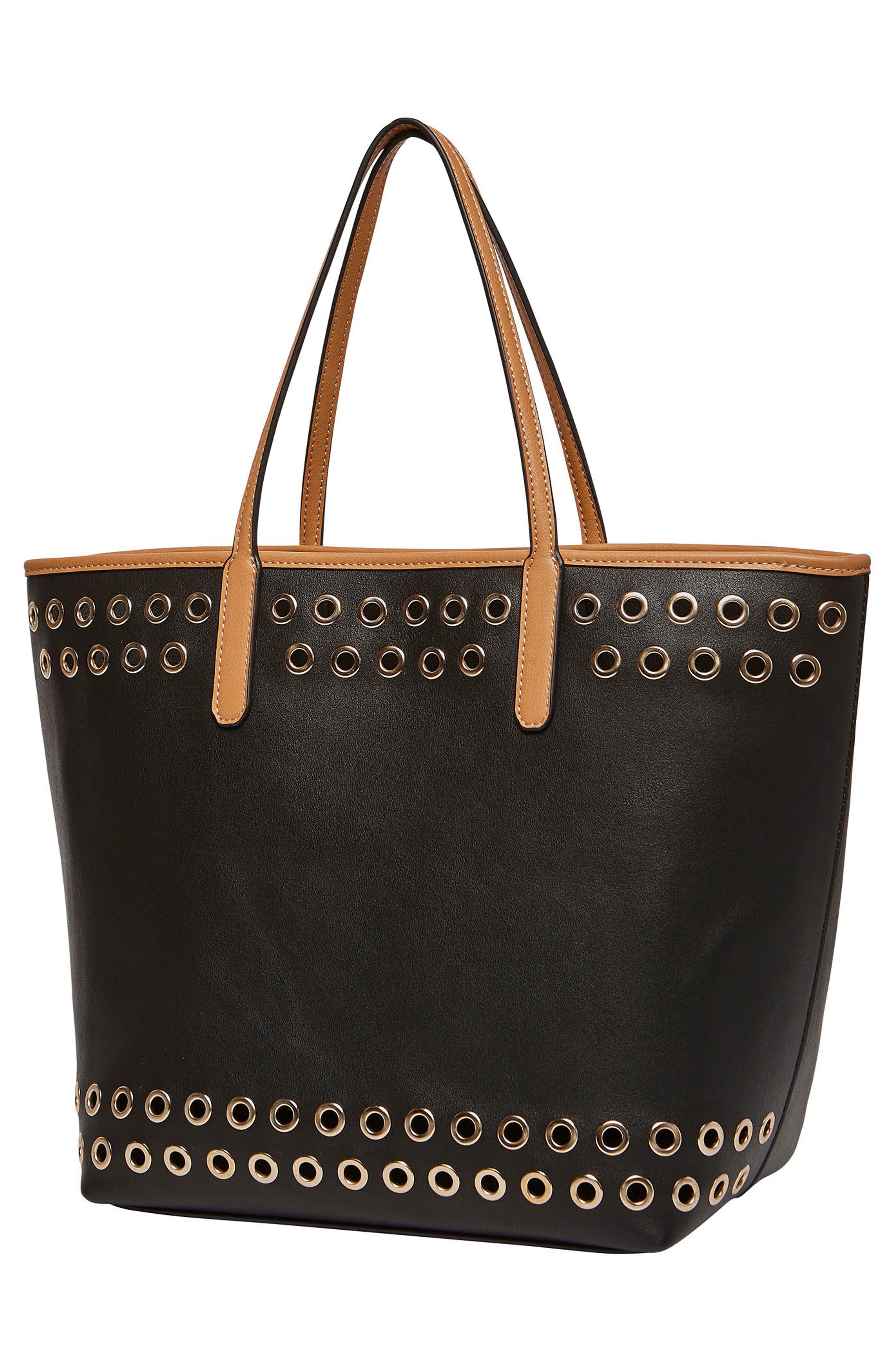 Wonderland Vegan Leather Tote & Shoulder Bag,                             Alternate thumbnail 3, color,                             001