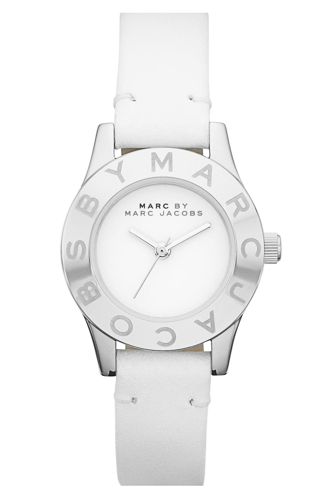 'Blade' Round Leather Strap Watch, Main, color, 102