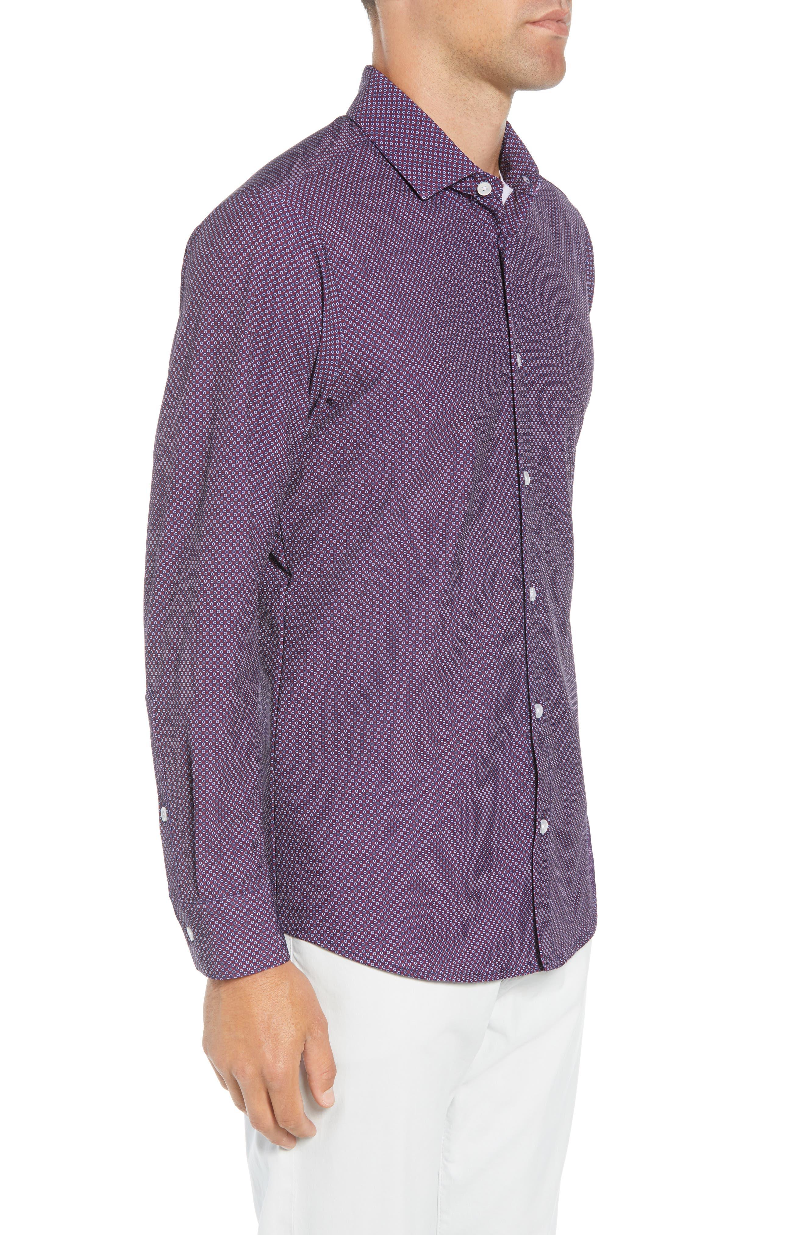 Damon Regular Fit Print Performance Sport Shirt,                             Alternate thumbnail 4, color,                             PLUM