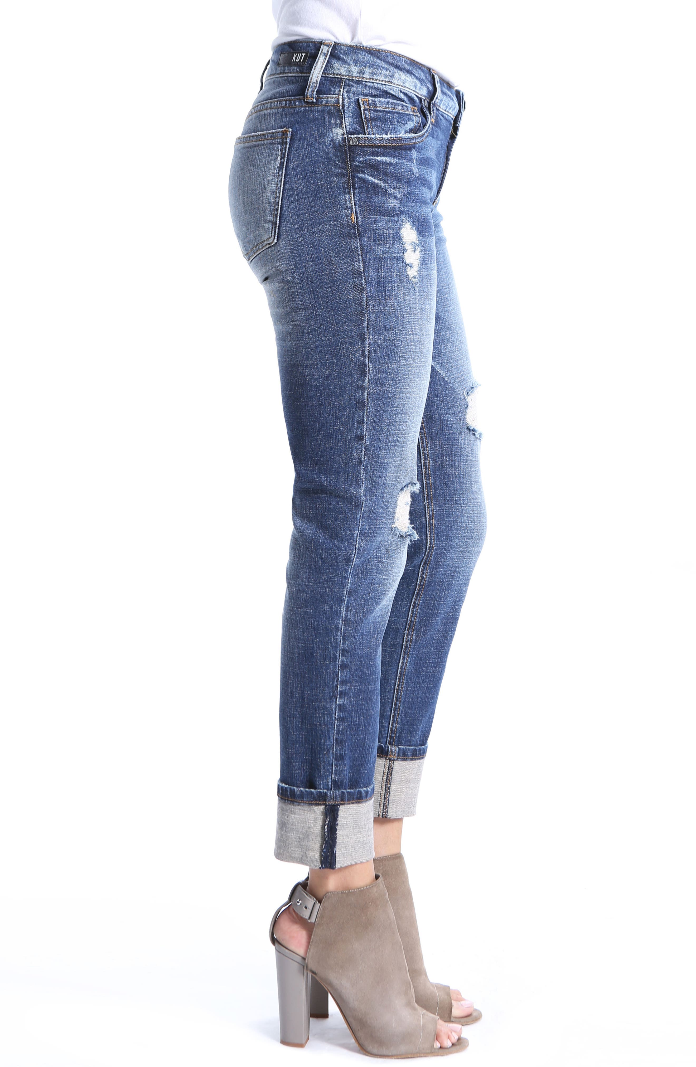 Catherine Ripped Boyfriend Jeans,                             Alternate thumbnail 3, color,                             400