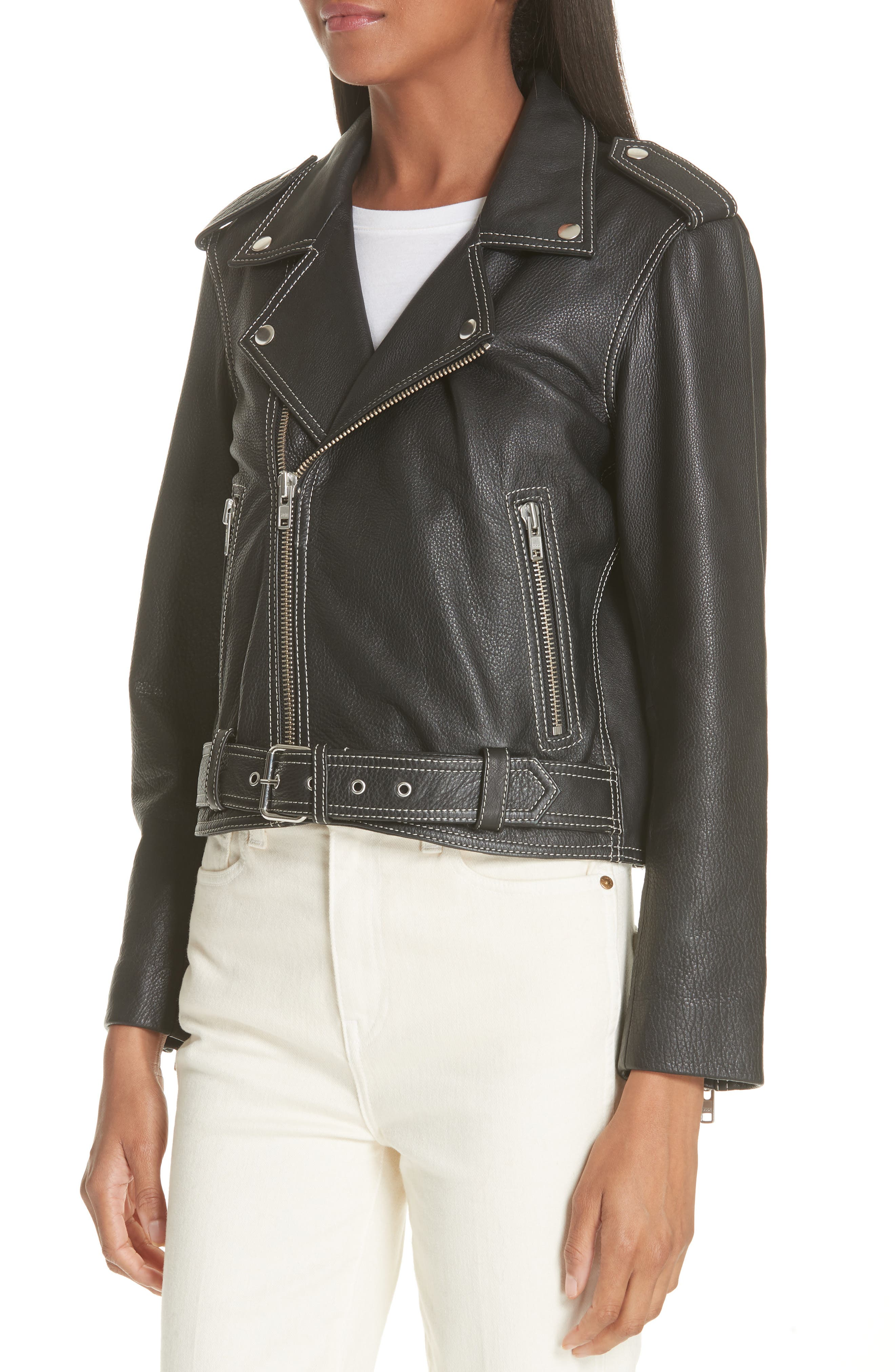 GANNI,                             Angela Leather Jacket,                             Alternate thumbnail 4, color,                             099
