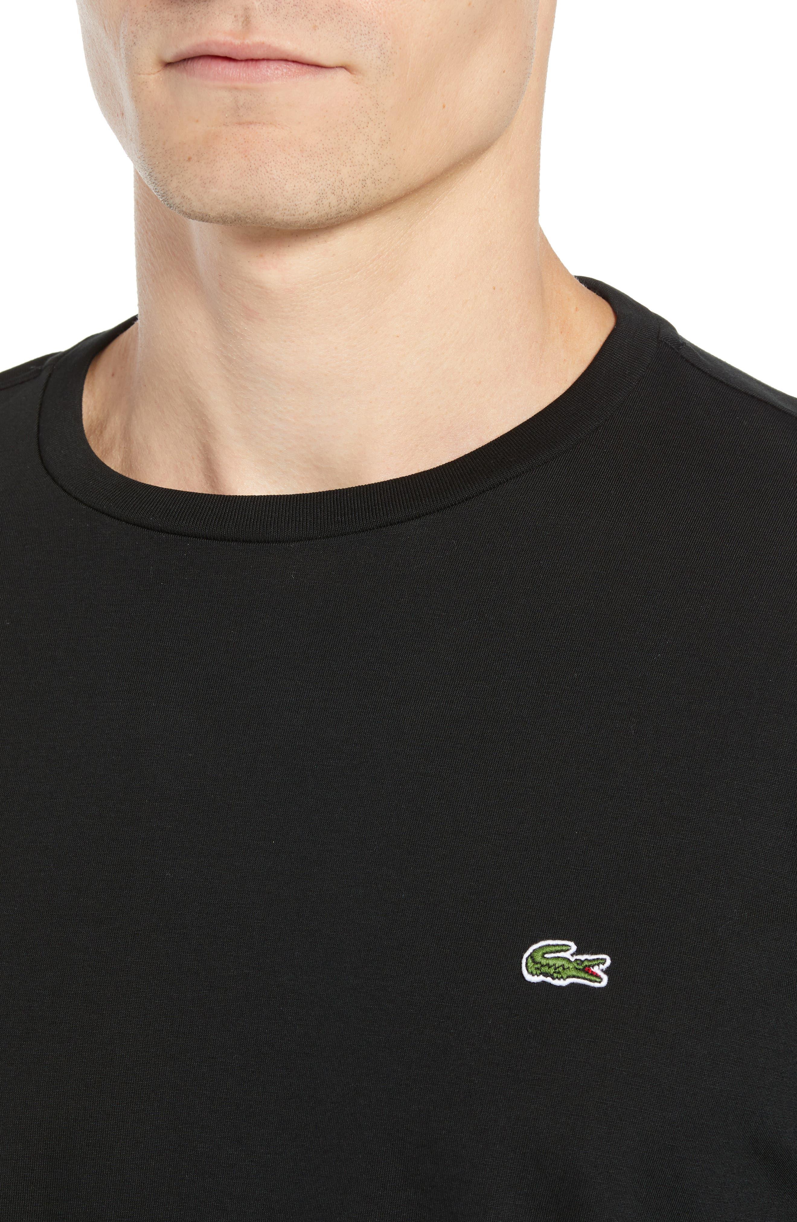 Long Sleeve Pima Cotton T-Shirt,                             Alternate thumbnail 4, color,                             BLACK