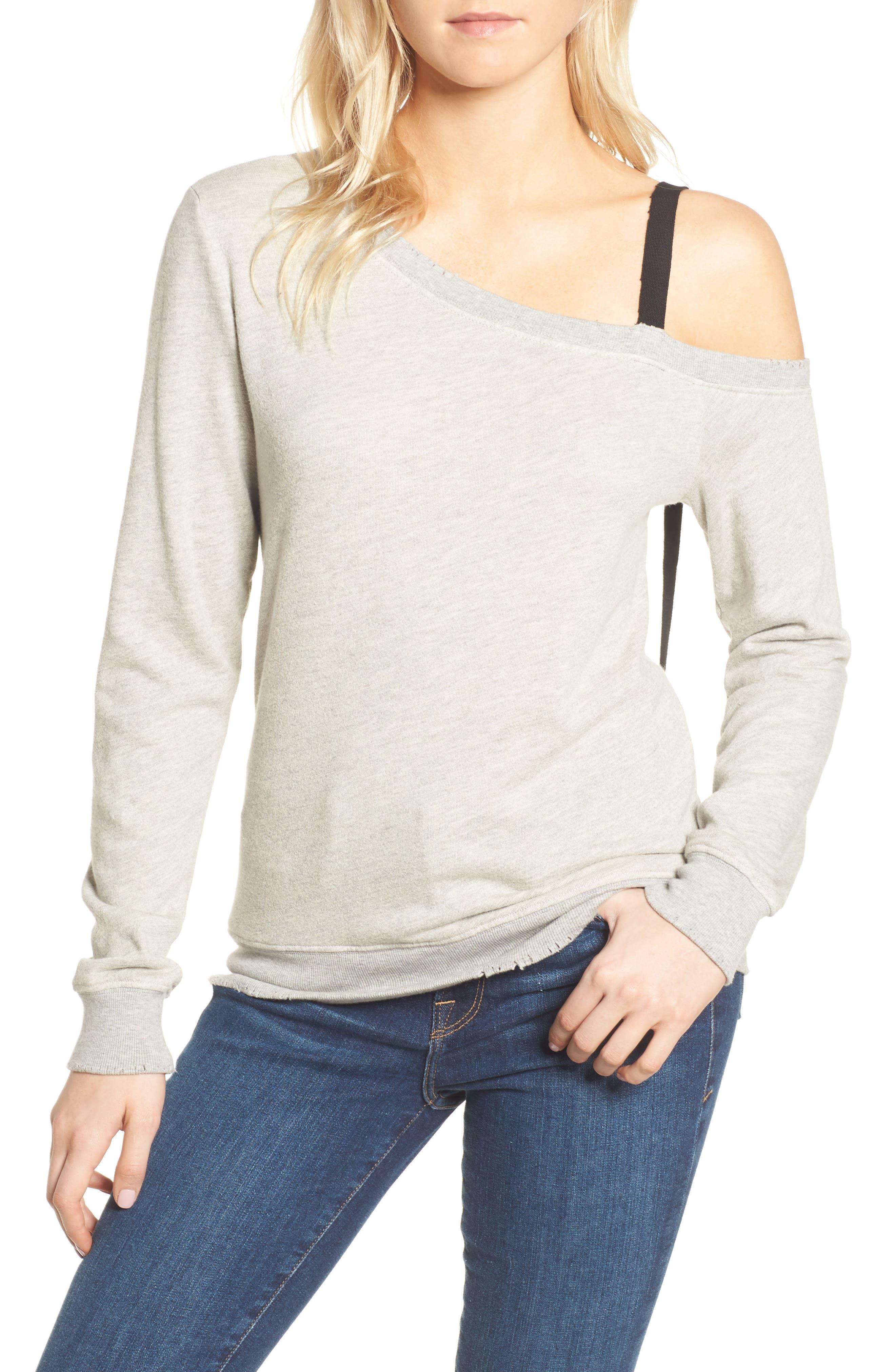 One-Shoulder Sweatshirt,                             Main thumbnail 1, color,