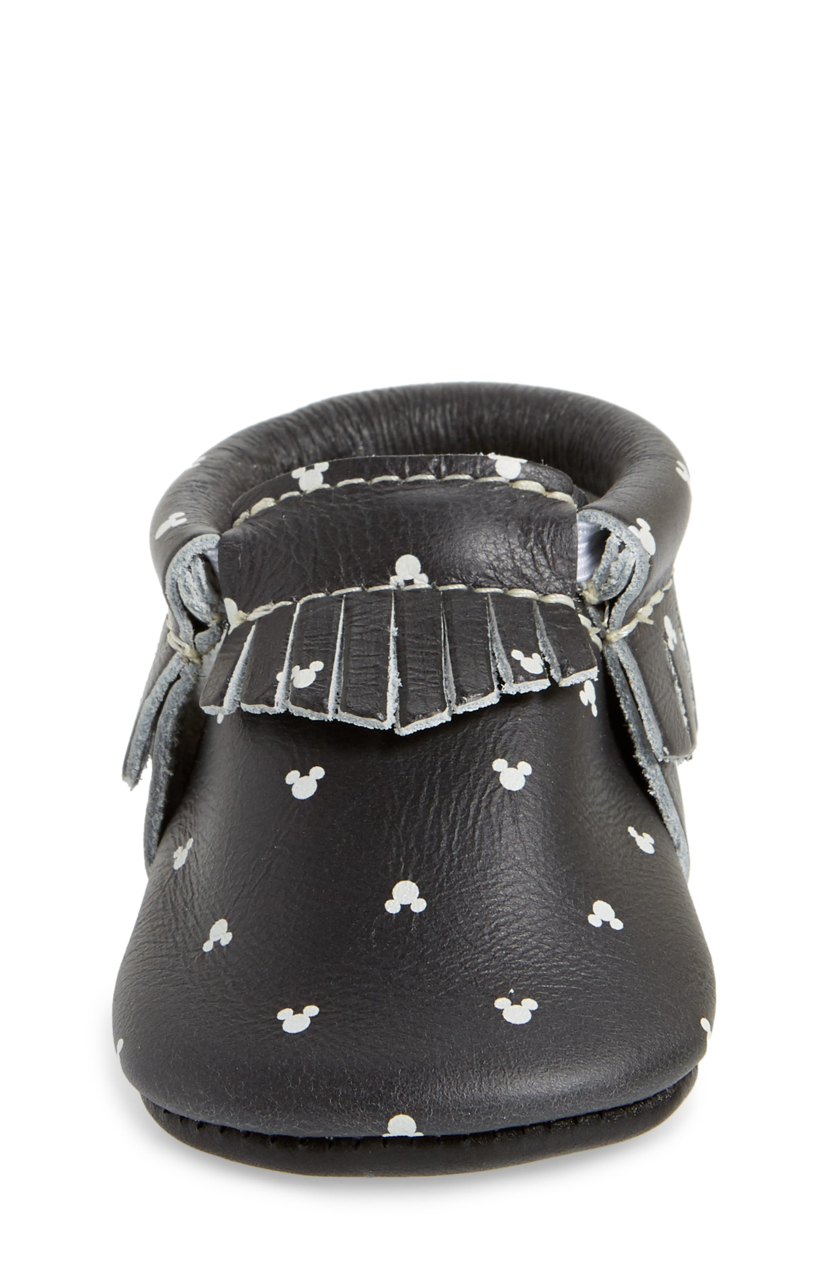 x Disney<sup>®</sup> Mouse Ears Print Moccasin,                             Alternate thumbnail 4, color,                             BLACK LEATHER