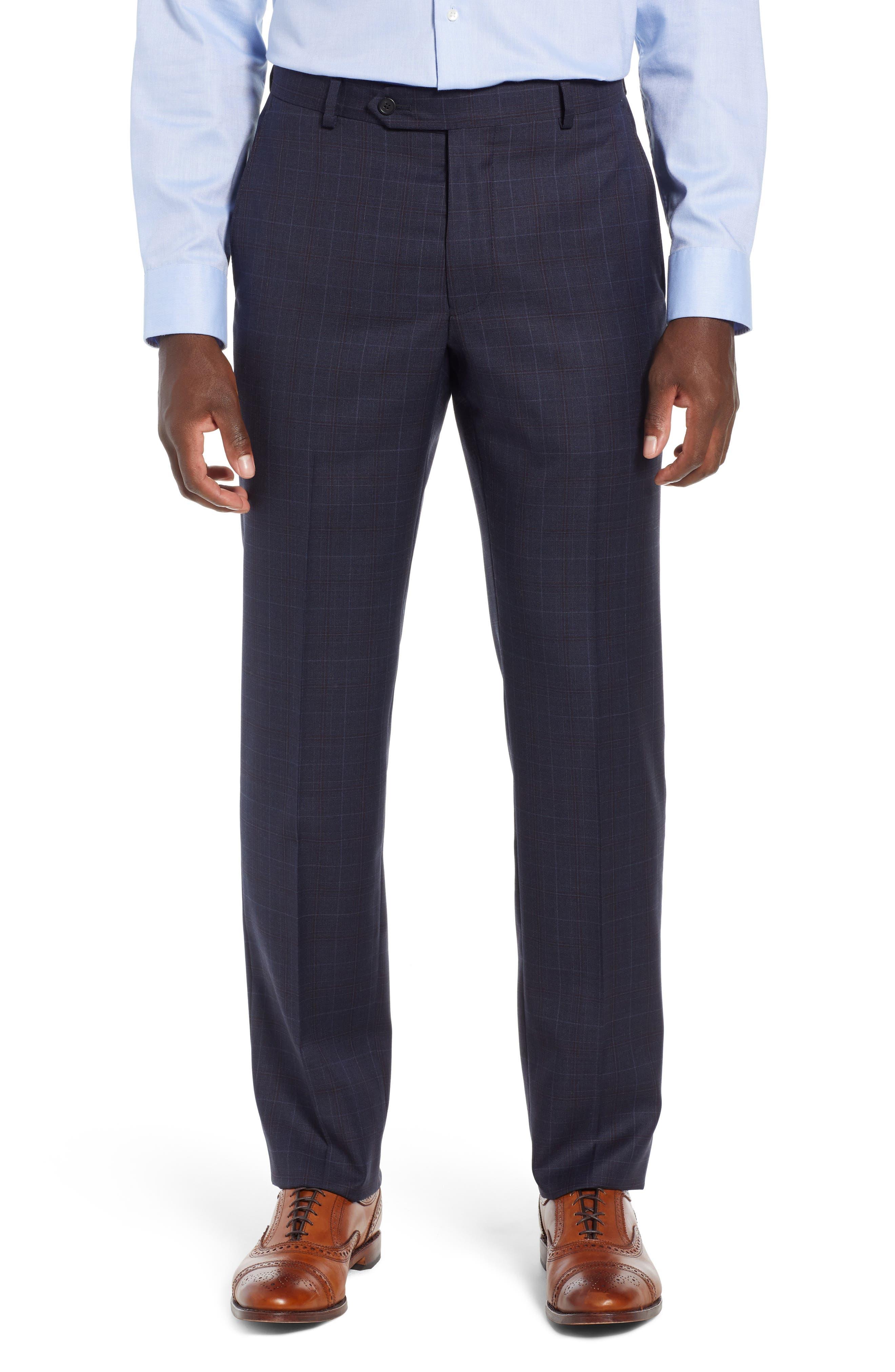 Classic Fit Plaid Wool Suit,                             Alternate thumbnail 6, color,                             BLUE