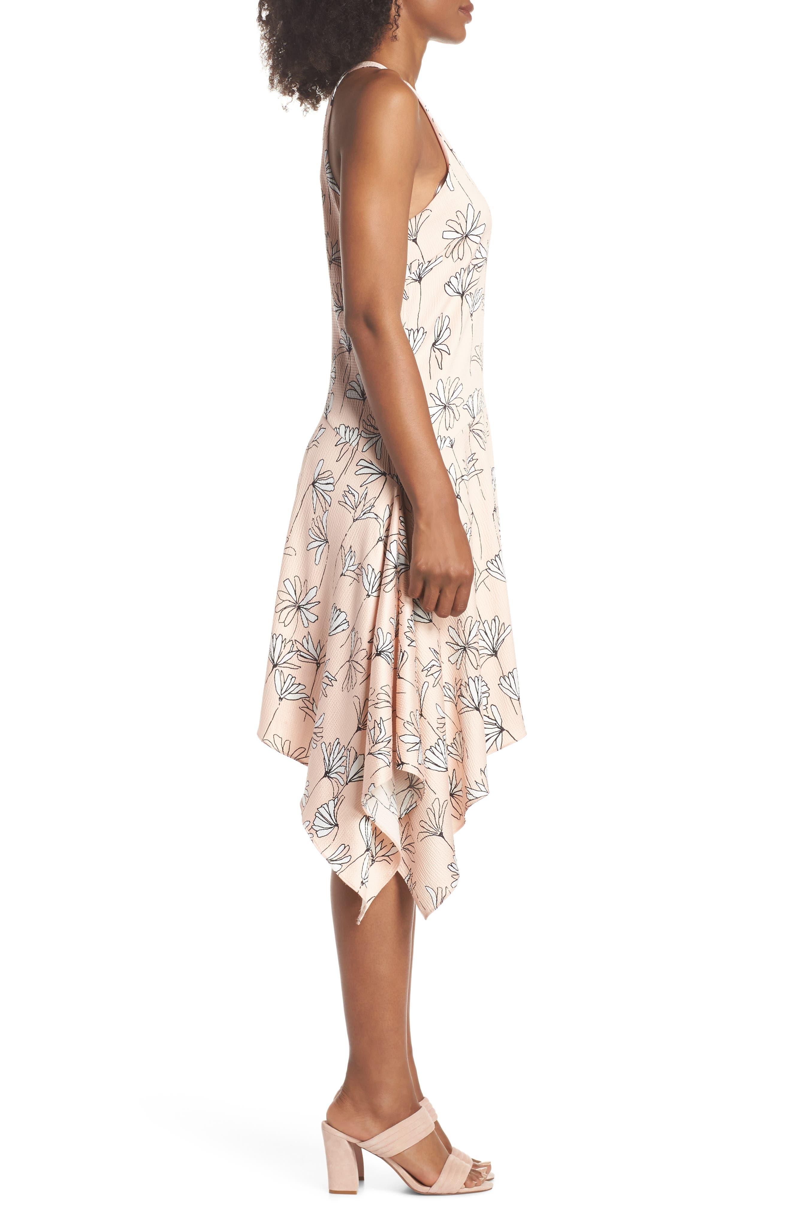 Printed Handkerchief Hem Dress,                             Alternate thumbnail 3, color,                             BLUSH/ SOFT WHITE