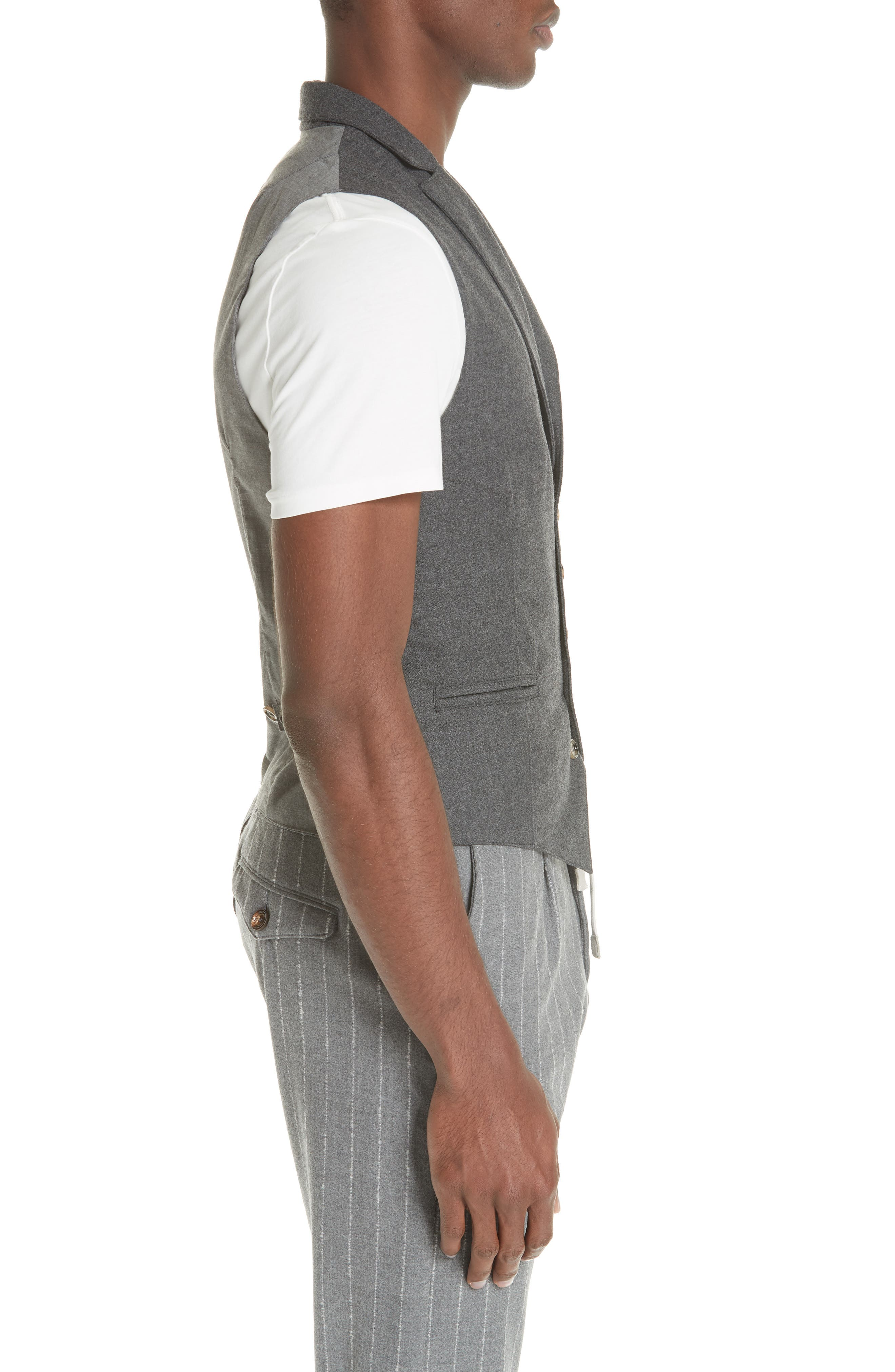 Trim Fit Stretch Wool Vest,                             Alternate thumbnail 3, color,                             DARK GREY