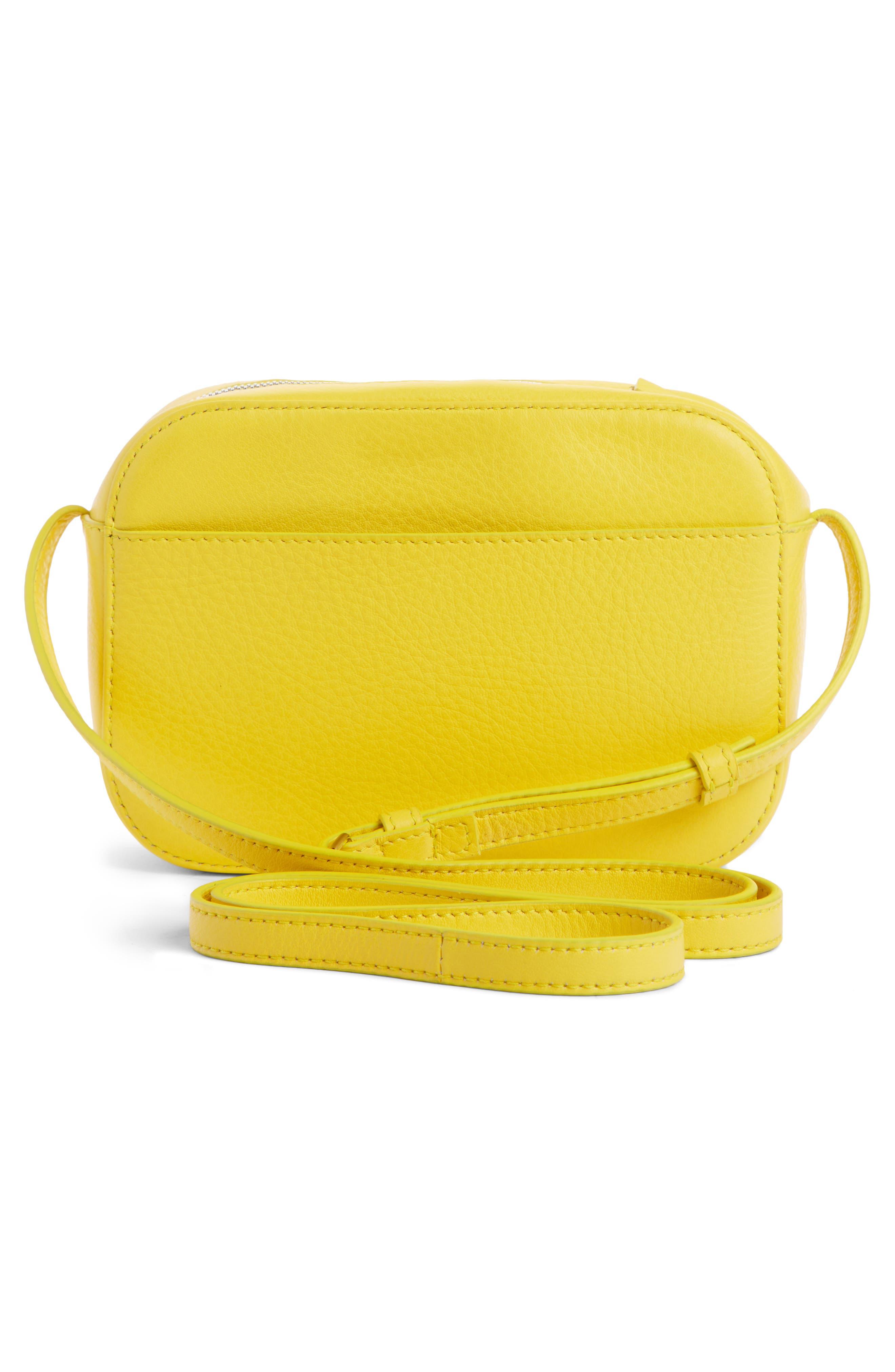 BALENCIAGA,                             Extra Small Everyday Calfskin Camera Bag,                             Alternate thumbnail 3, color,                             JAUNE SOLEIL/ NOIR