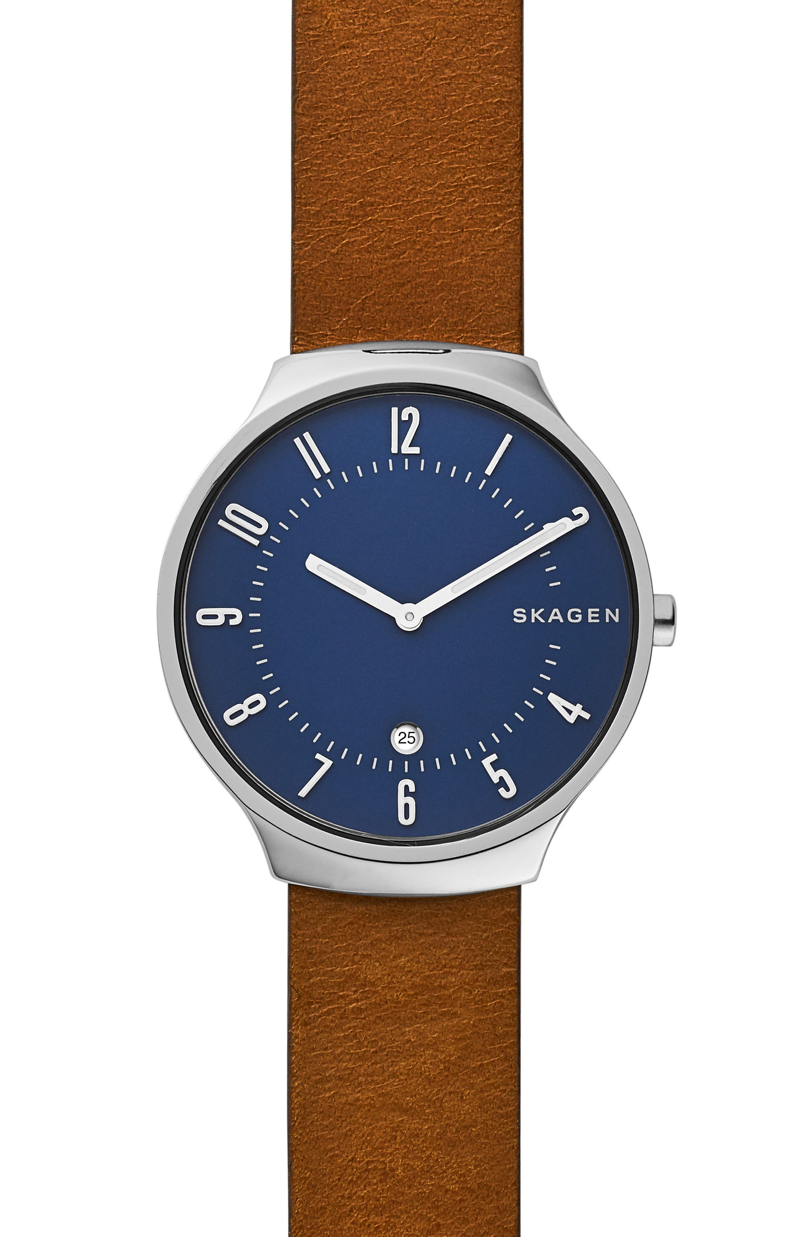 Grenen Leather Strap Watch, 38mm,                         Main,                         color, STAINLESS STEEL