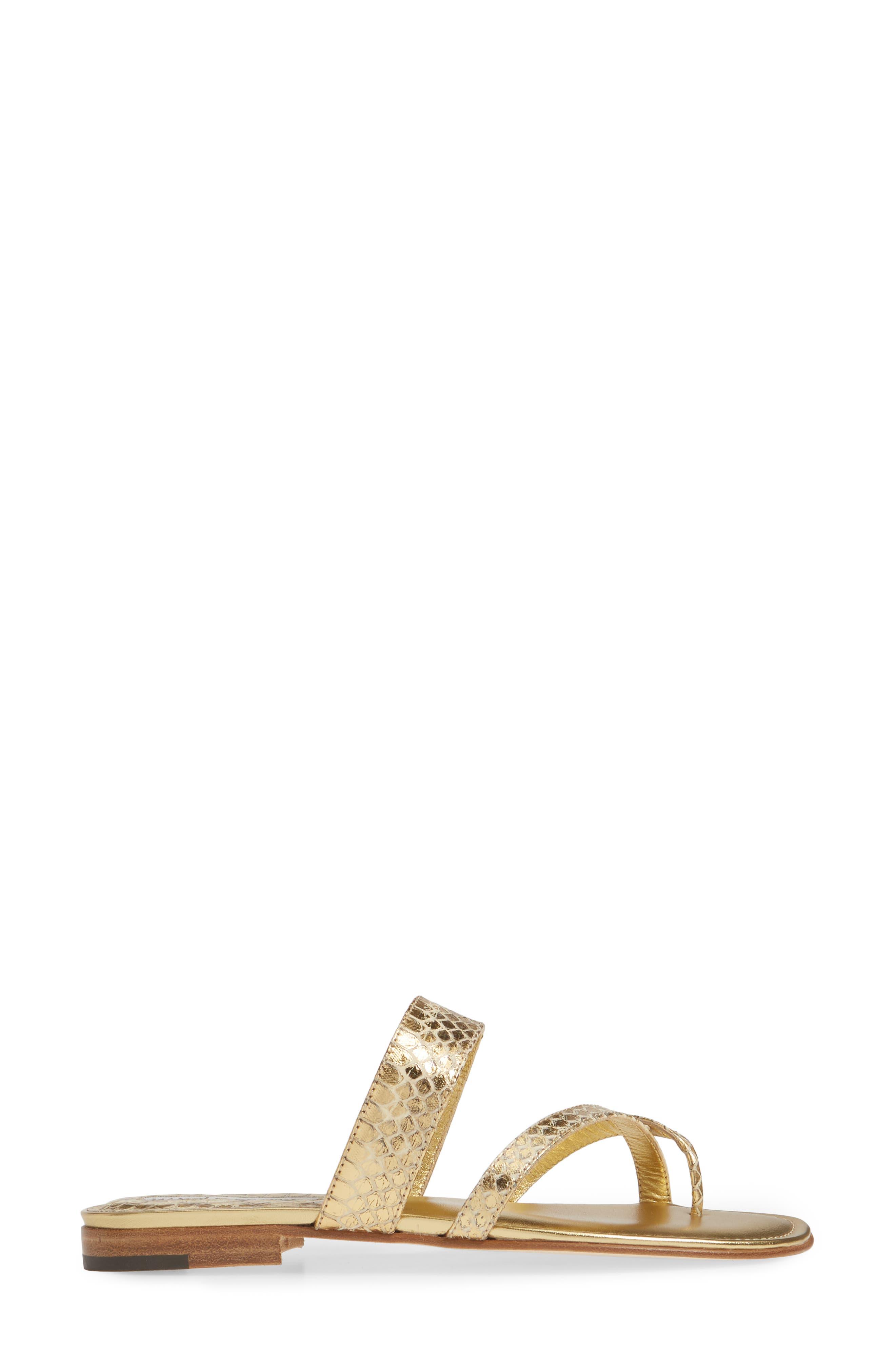 MANOLO BLAHNIK,                             'Susa' Genuine Snakeskin Sandal,                             Alternate thumbnail 3, color,                             GOLD WATERSNAKE