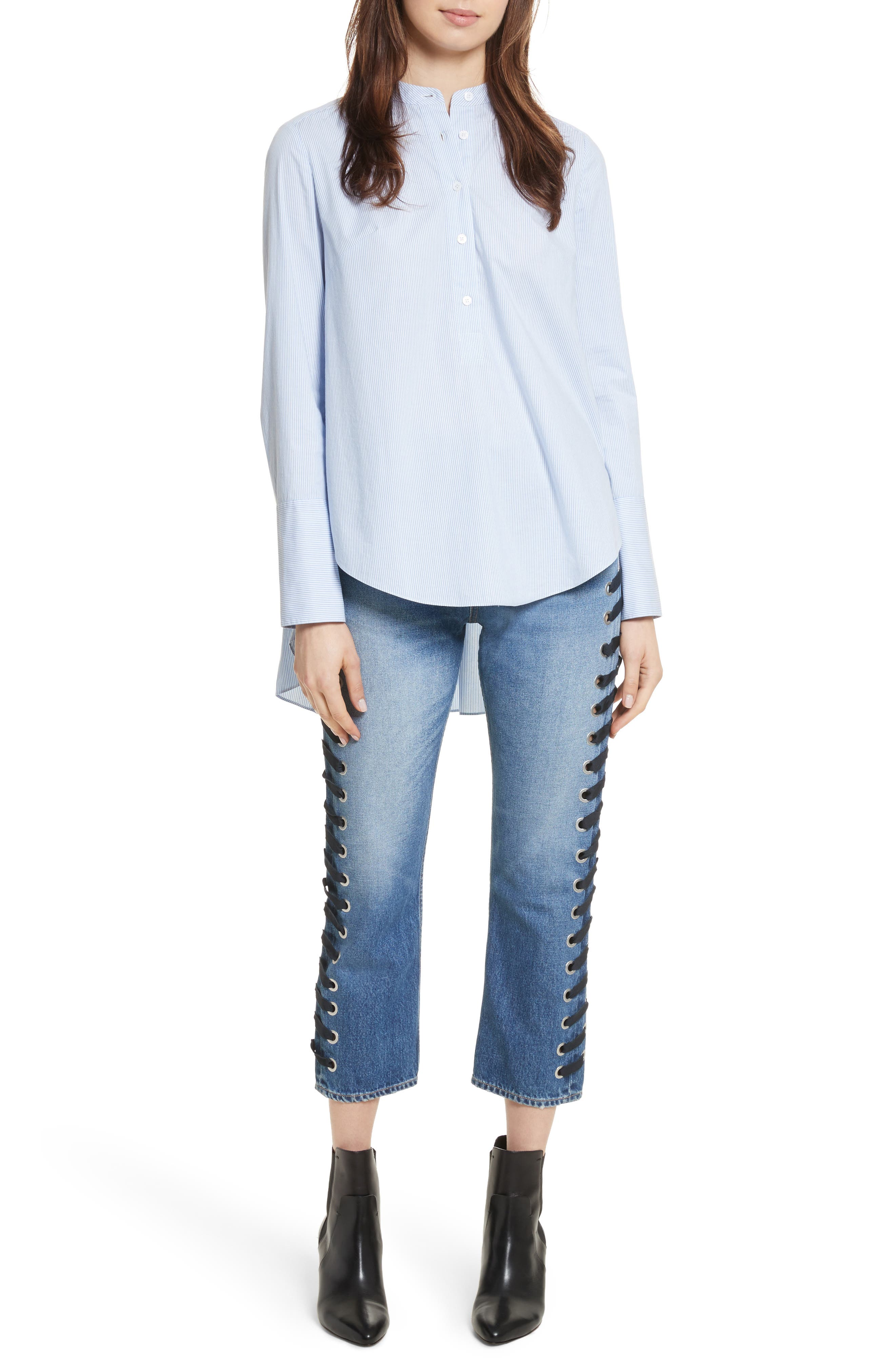 Ines Lace-Up Crop Girlfriend Jeans,                             Alternate thumbnail 6, color,                             400