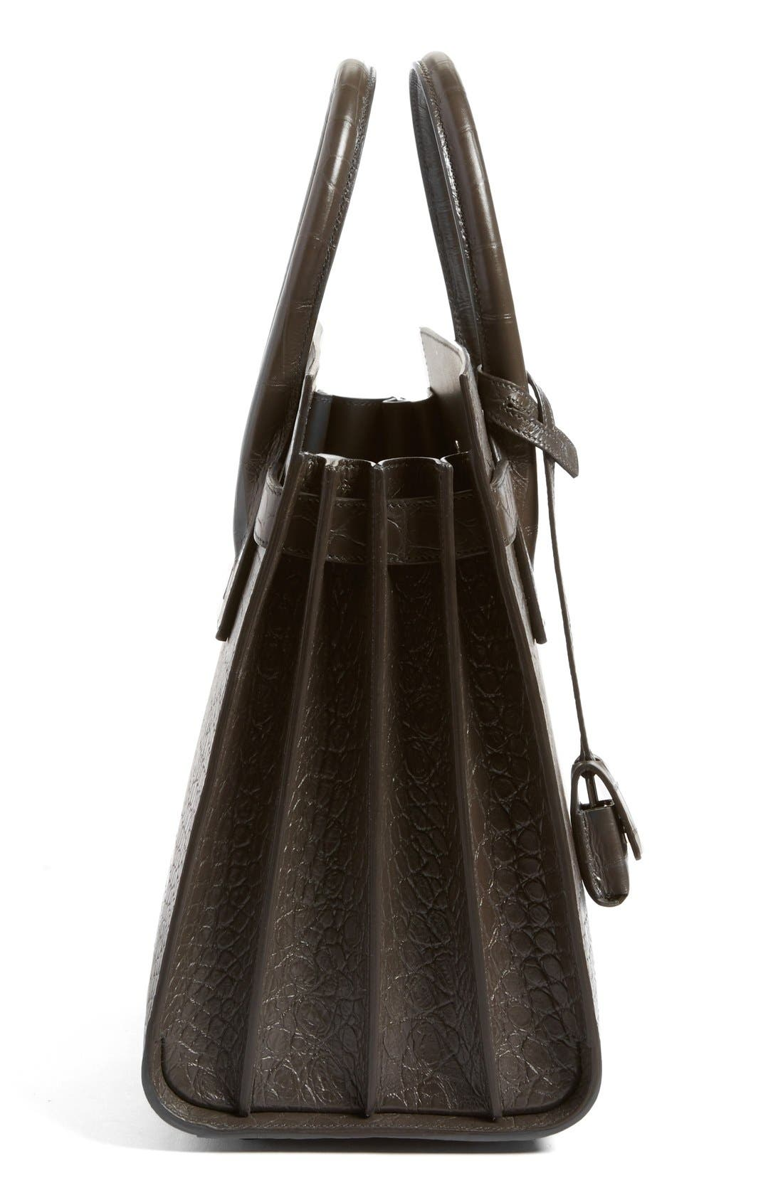 'Small Sac de Jour' Croc Embossed Leather Tote,                             Alternate thumbnail 4, color,                             022