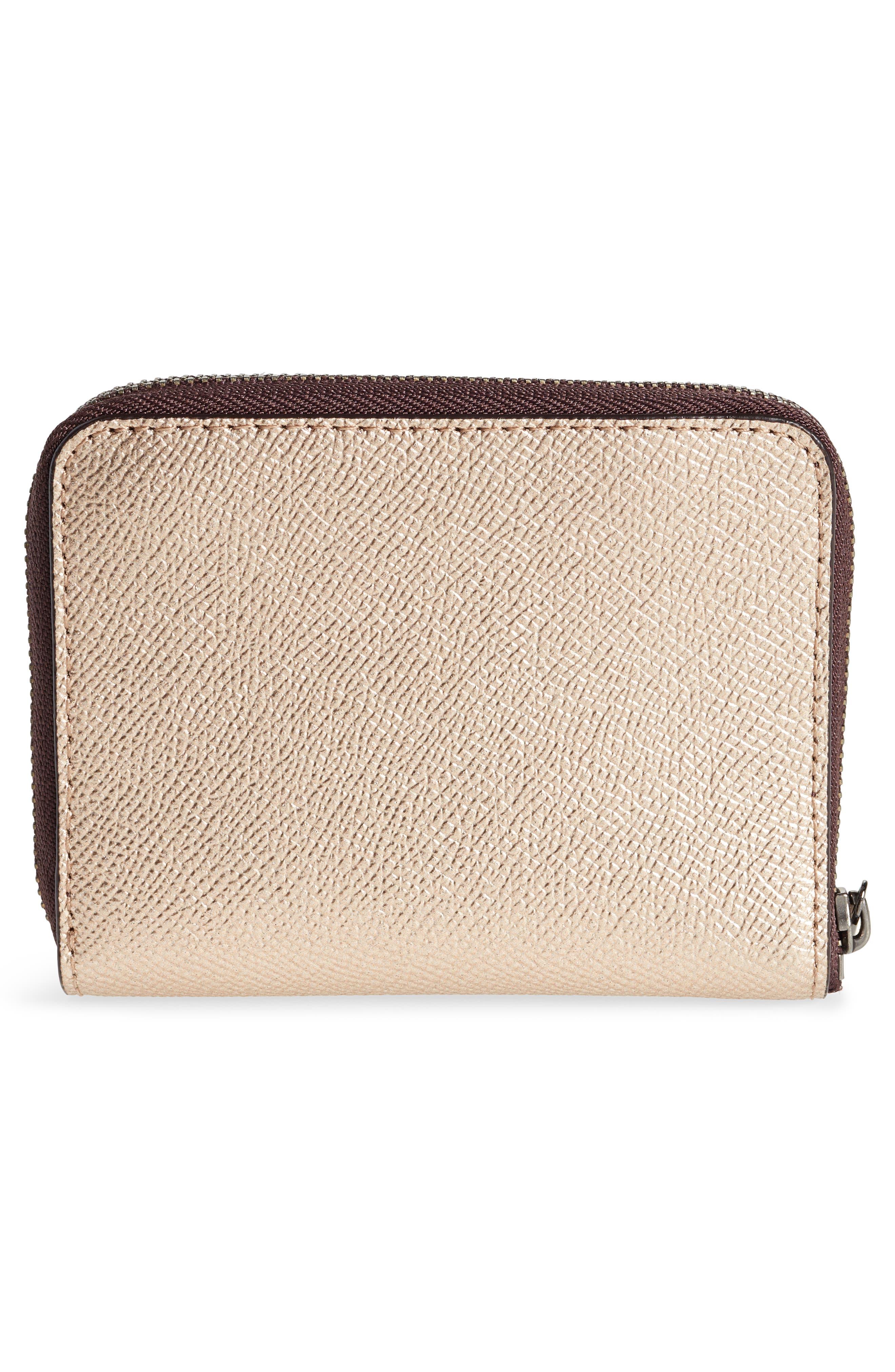 COACH,                             Small Metallic Leather Zip Around Wallet,                             Alternate thumbnail 4, color,                             PLATINUM