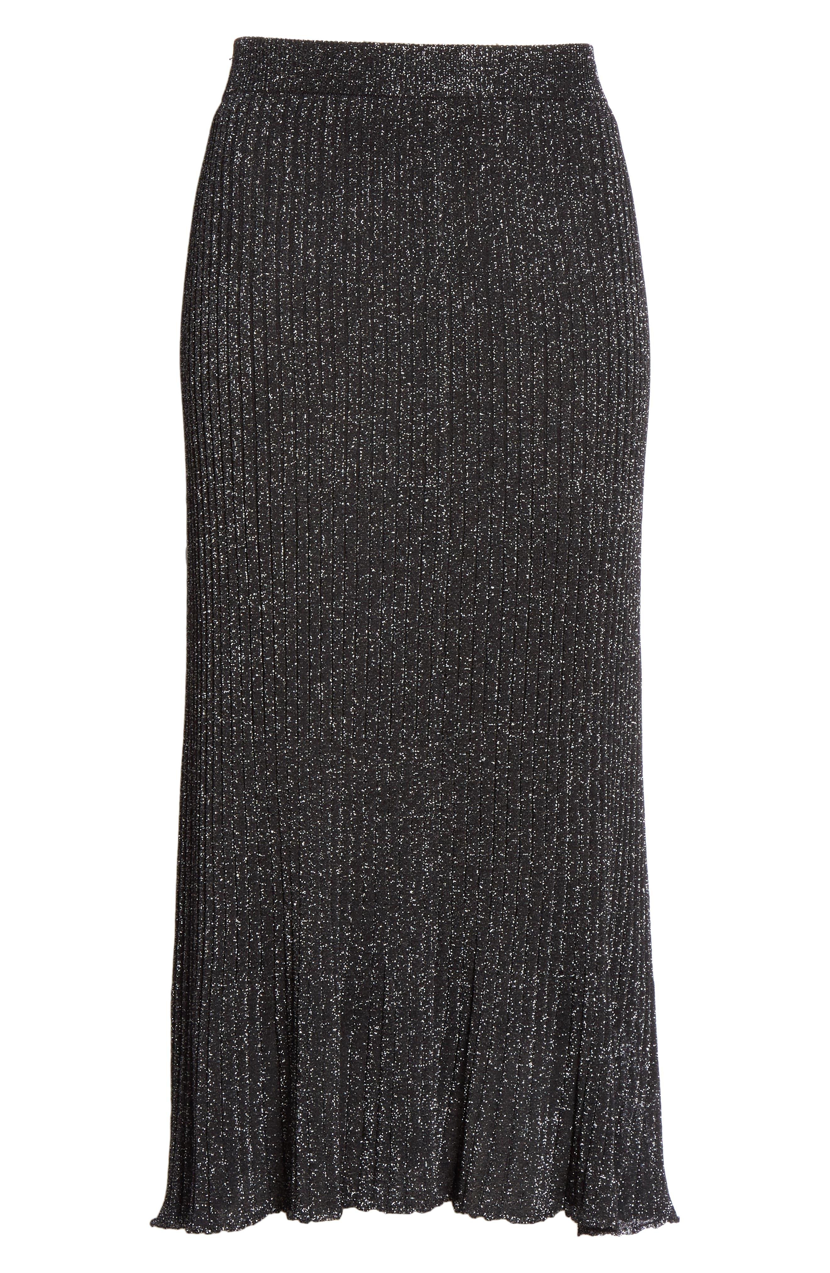 Othello Metallic Ribbed Skirt,                             Alternate thumbnail 6, color,                             BLACK