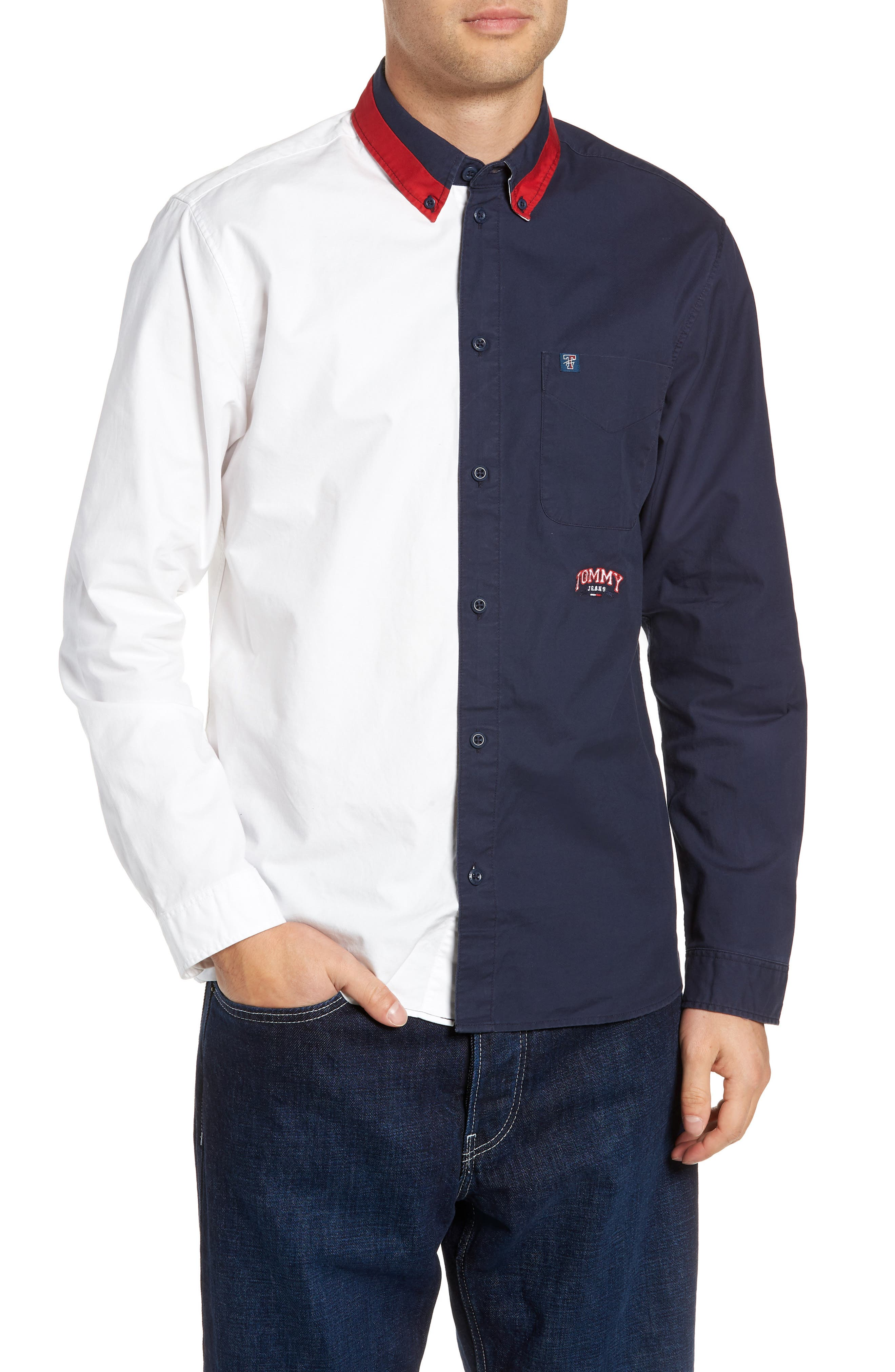 Half & Half Shirt,                         Main,                         color, CLASSIC WHITE / BLACK IRIS