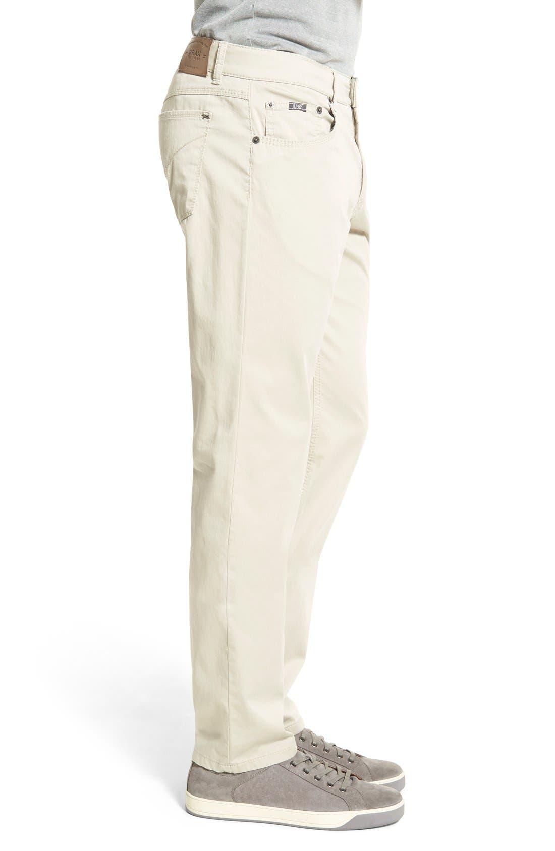 Flat Front Stretch Cotton Straight Leg Trousers,                             Alternate thumbnail 5, color,                             PAPER