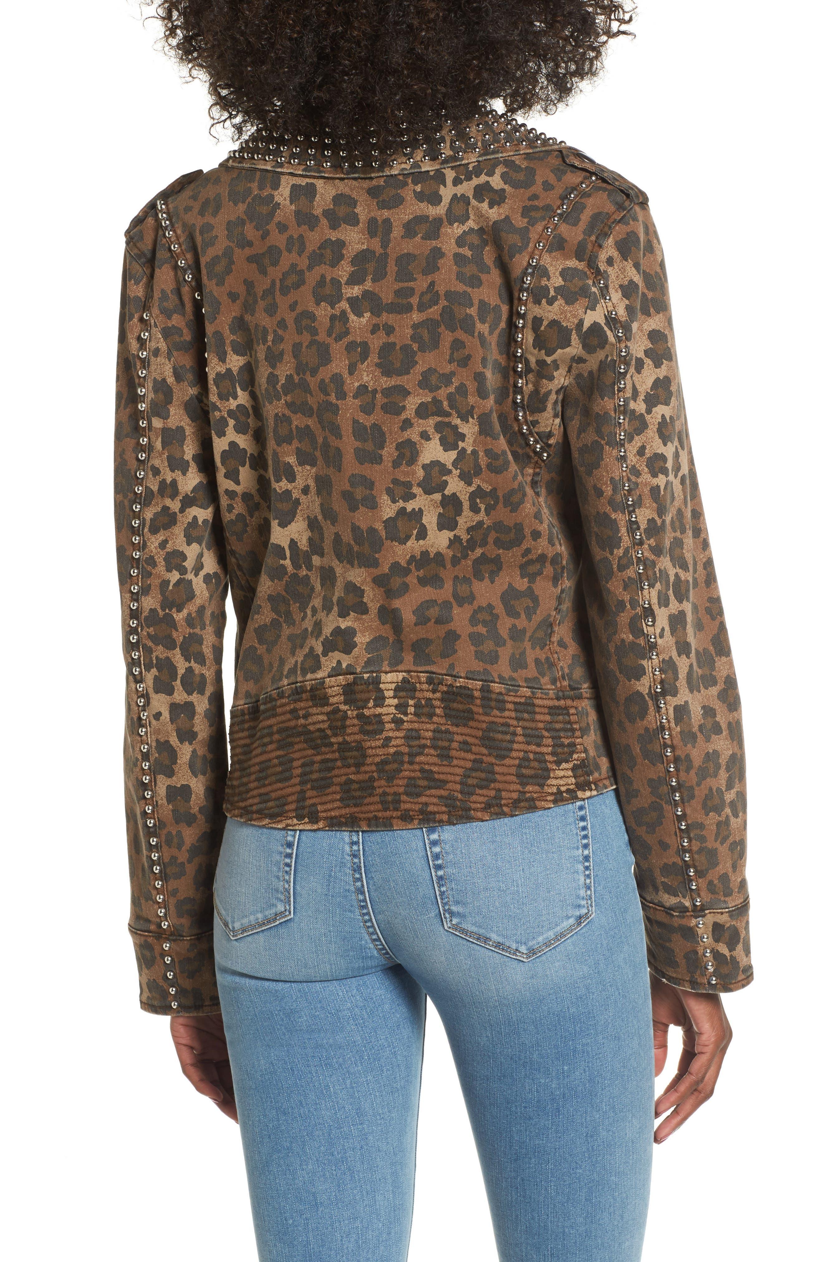 AFRM Studded Leopard Print Moto Jacket,                             Alternate thumbnail 3, color,