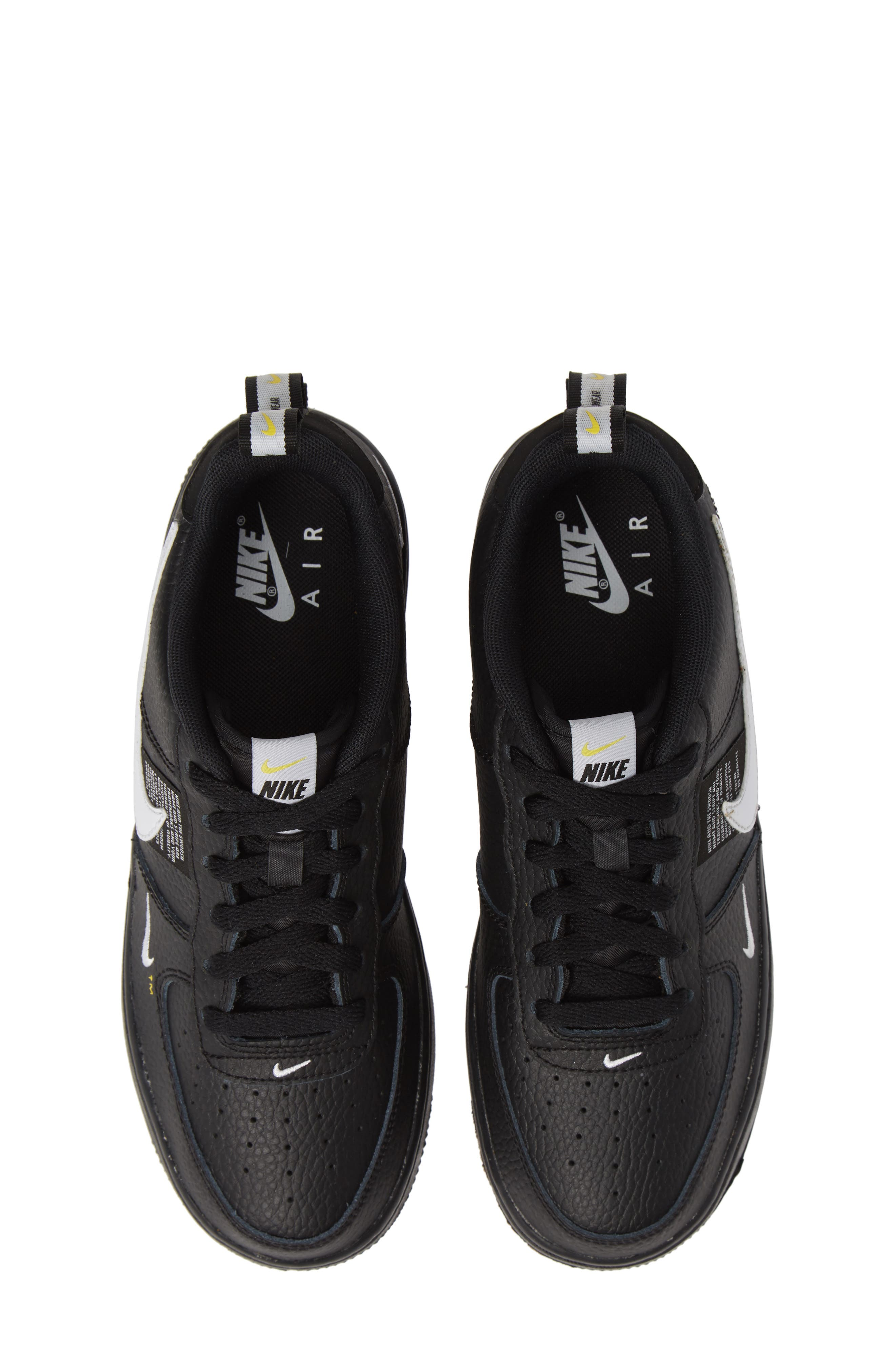 NIKE,                             Air Force 1 LV8 Sneaker,                             Main thumbnail 1, color,                             BLACK/ WHITE-BLACK-TOUR YELLOW