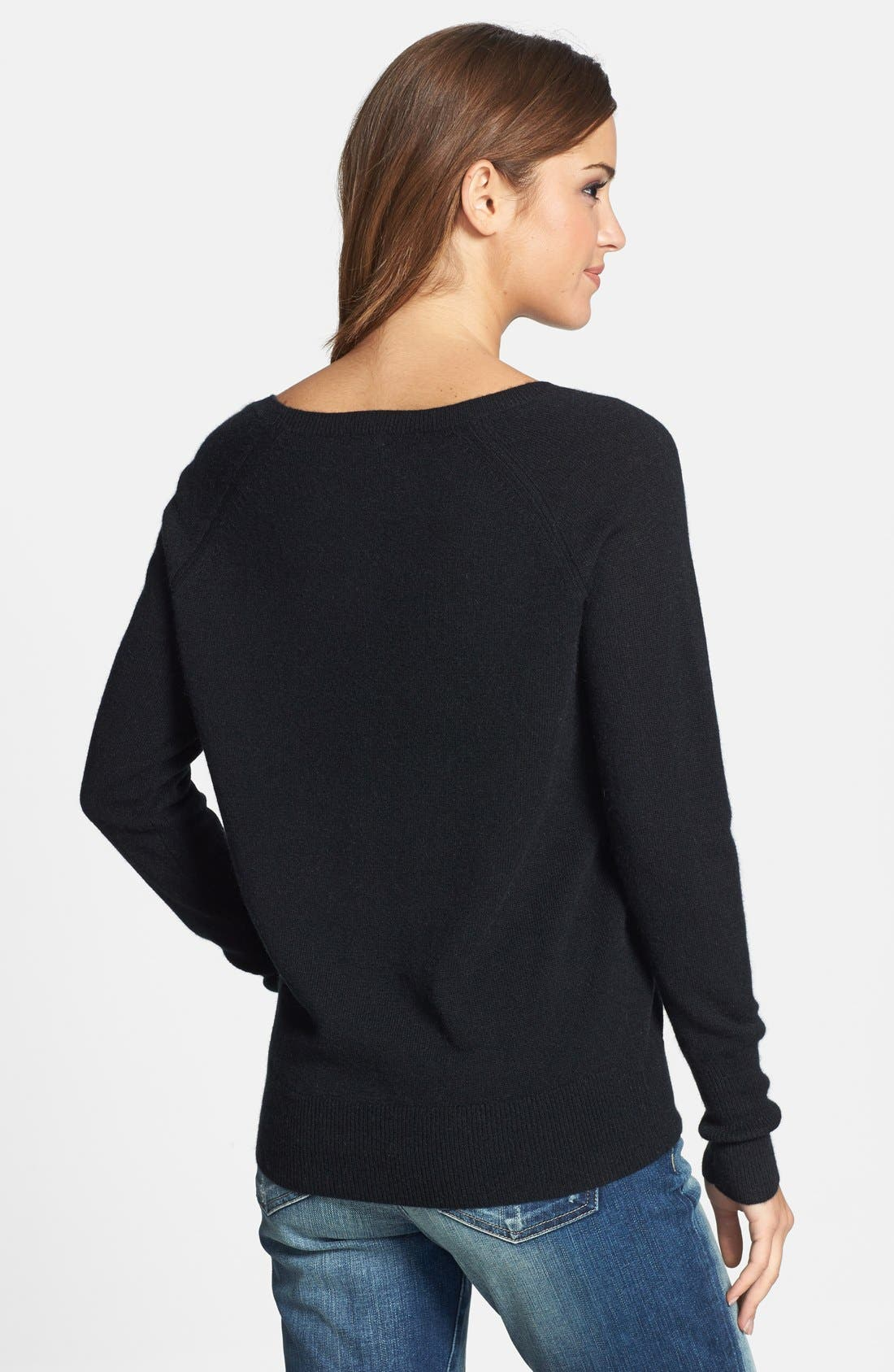 Solid Cashmere Sweater,                             Alternate thumbnail 3, color,                             001
