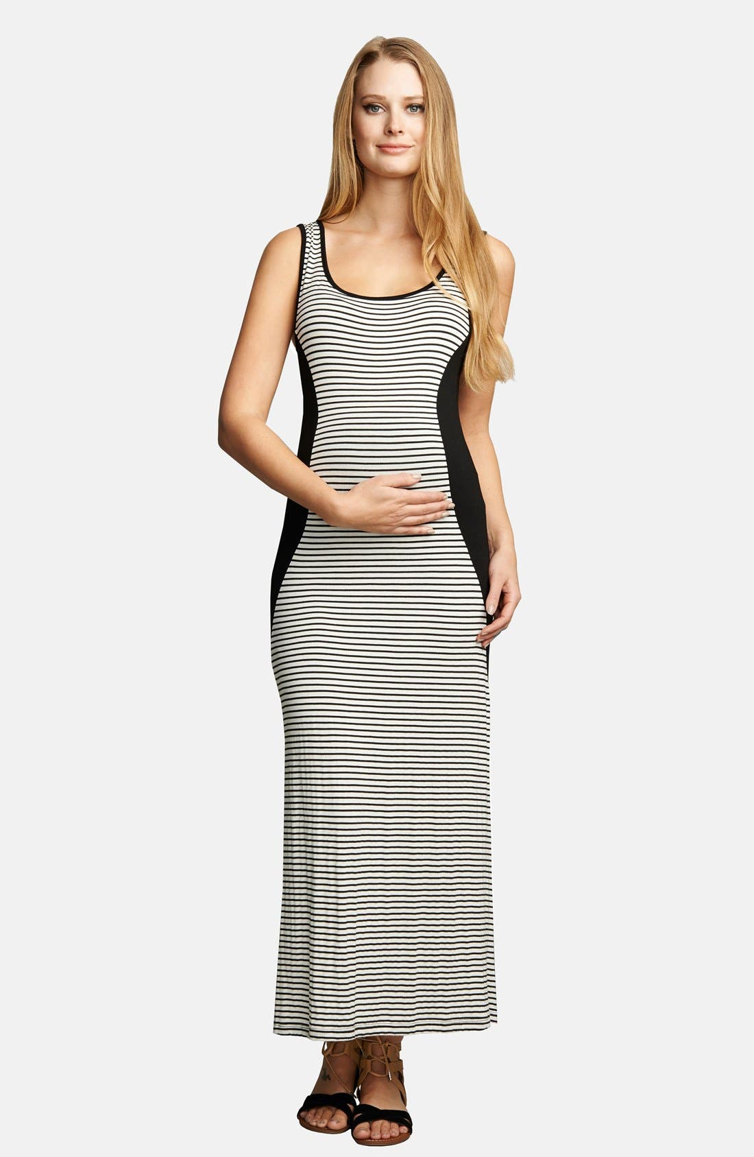 Scoop Neck Maxi Lightweight Maternity Dress,                             Main thumbnail 1, color,                             001