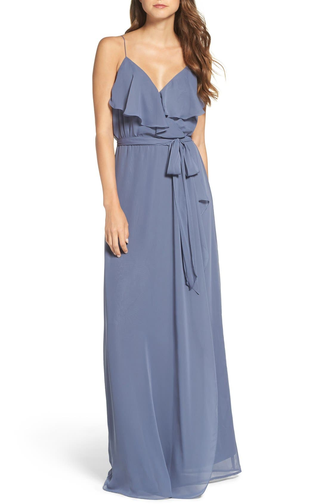 'Drew' Ruffle Front Chiffon Gown,                             Main thumbnail 8, color,