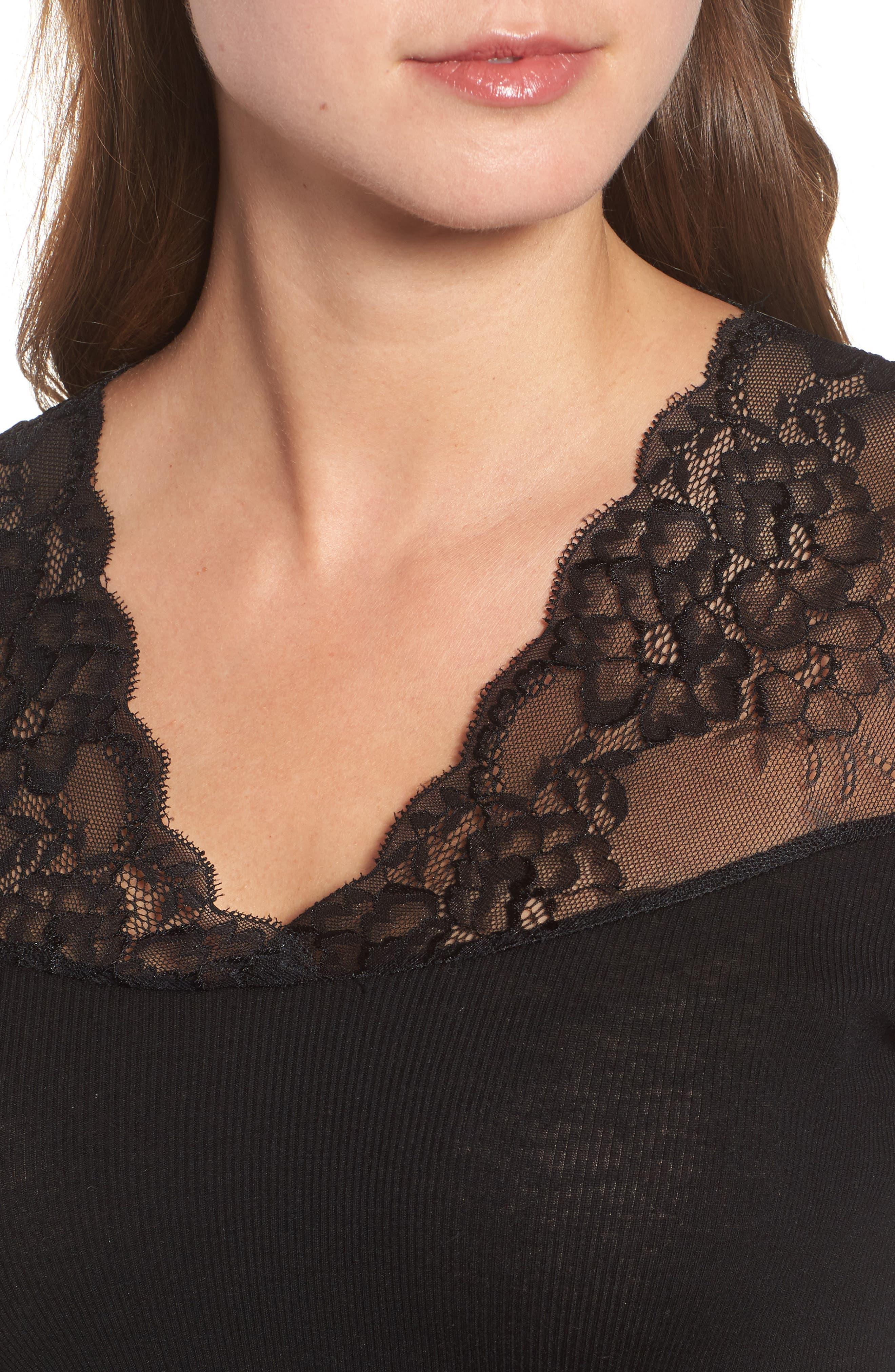 Brigit Lace Embellished Silk Blend Top,                             Alternate thumbnail 4, color,                             BLACK