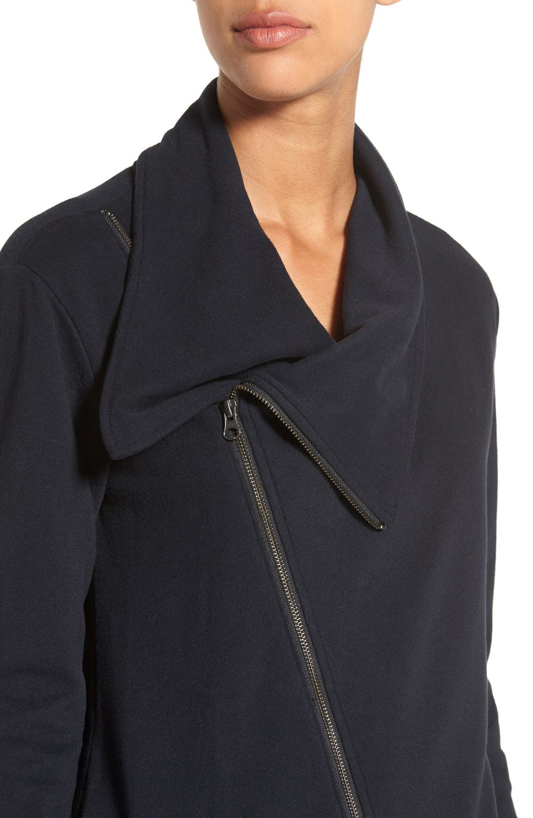 Asymmetrical Drape Collar Terry Jacket,                             Alternate thumbnail 3, color,                             001