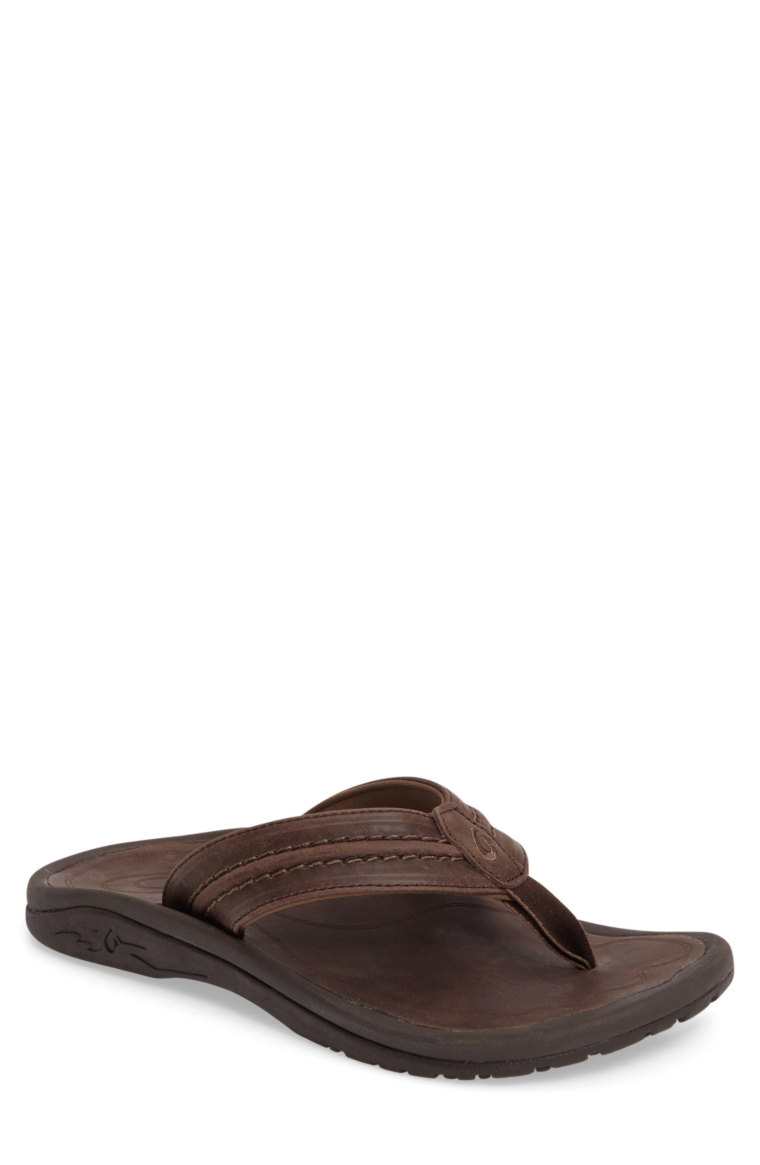 Hokua Flip Flop,                             Main thumbnail 1, color,                             DARK WOOD LEATHER