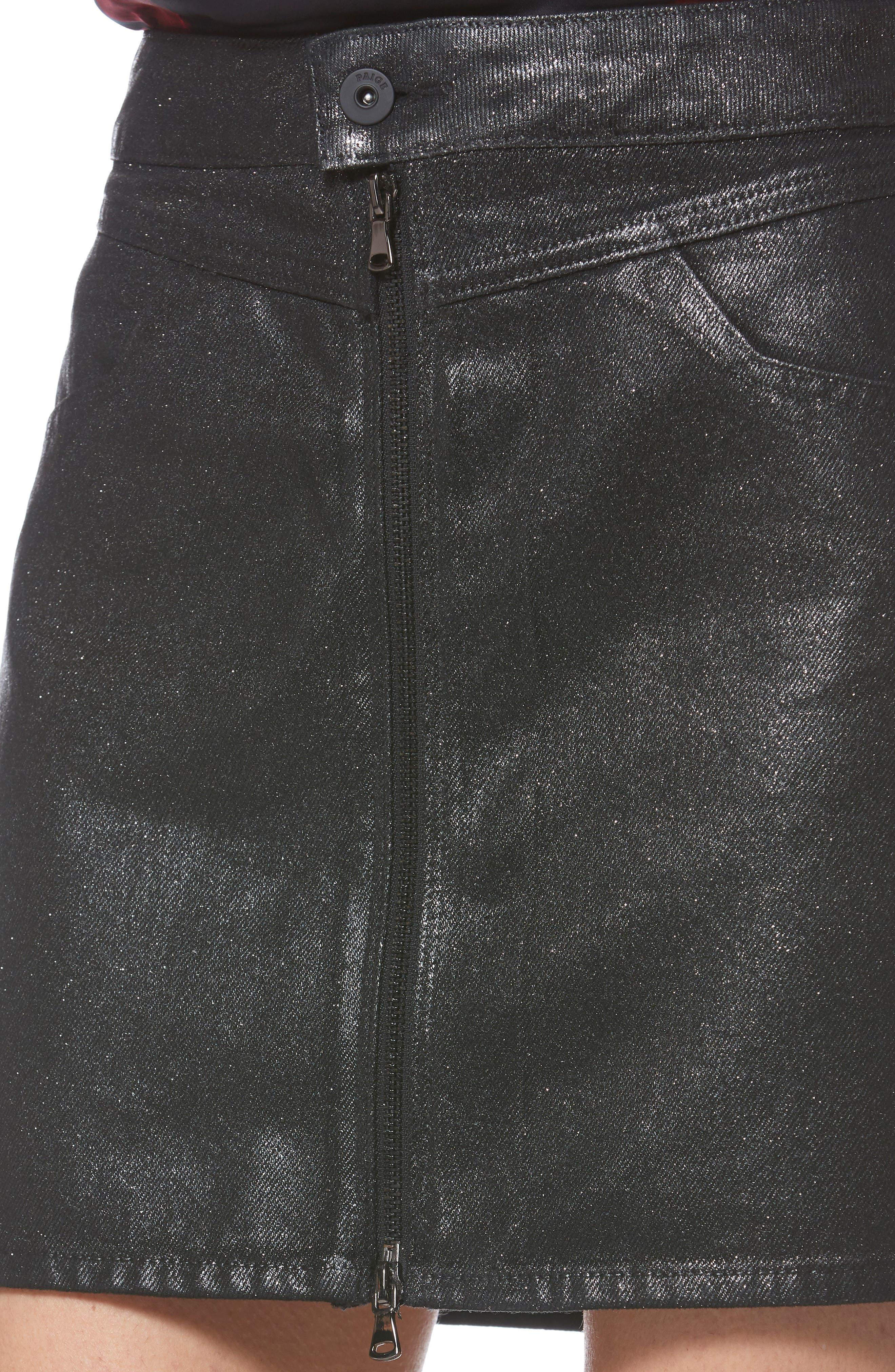 Jamine Zip Front Skirt,                             Alternate thumbnail 4, color,                             SPARKLE COATING