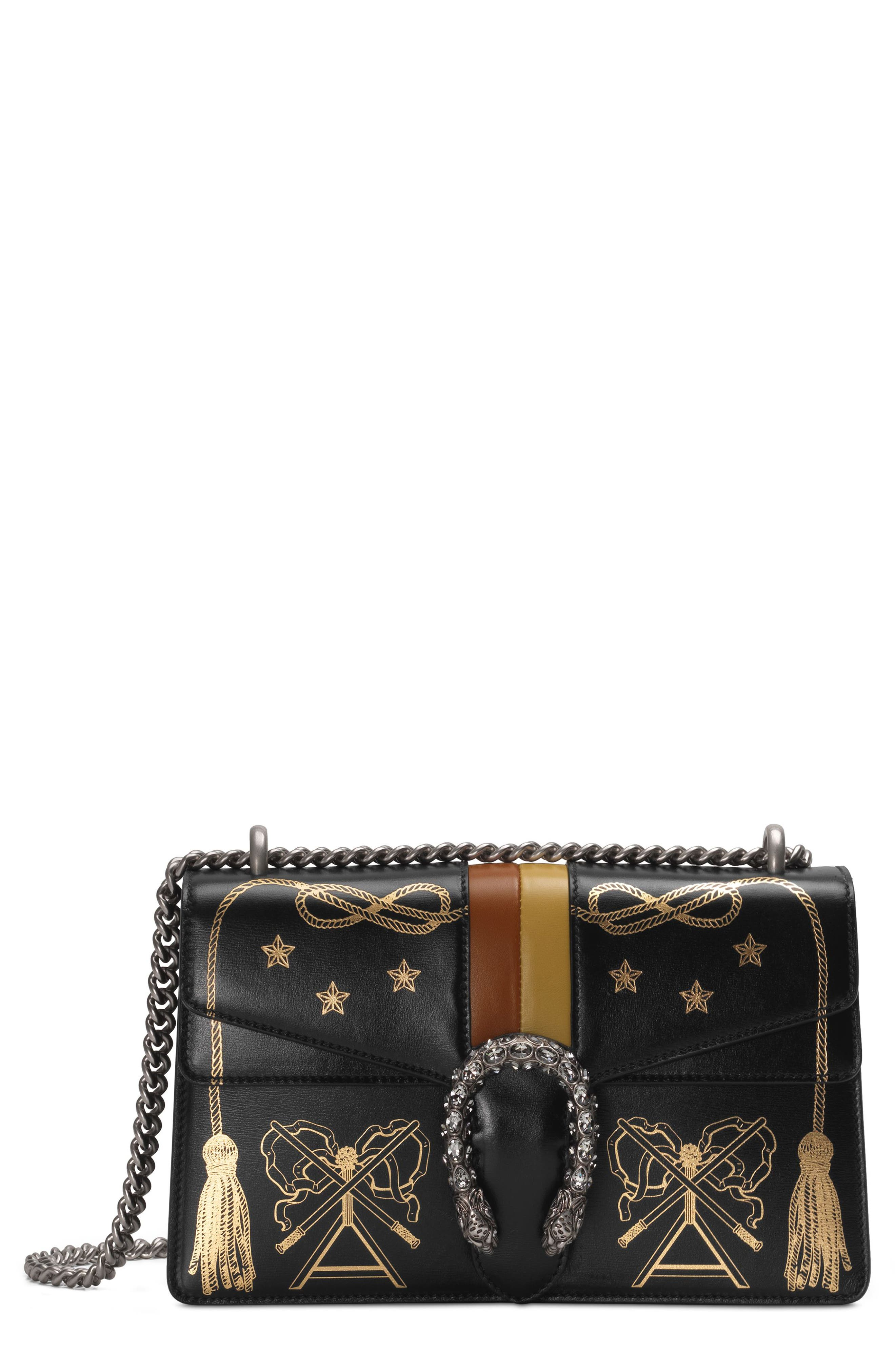 Small Dionysus Leather Shoulder Bag,                             Main thumbnail 1, color,                             BLACK GOLD/ CARAMEL/ OCHRE