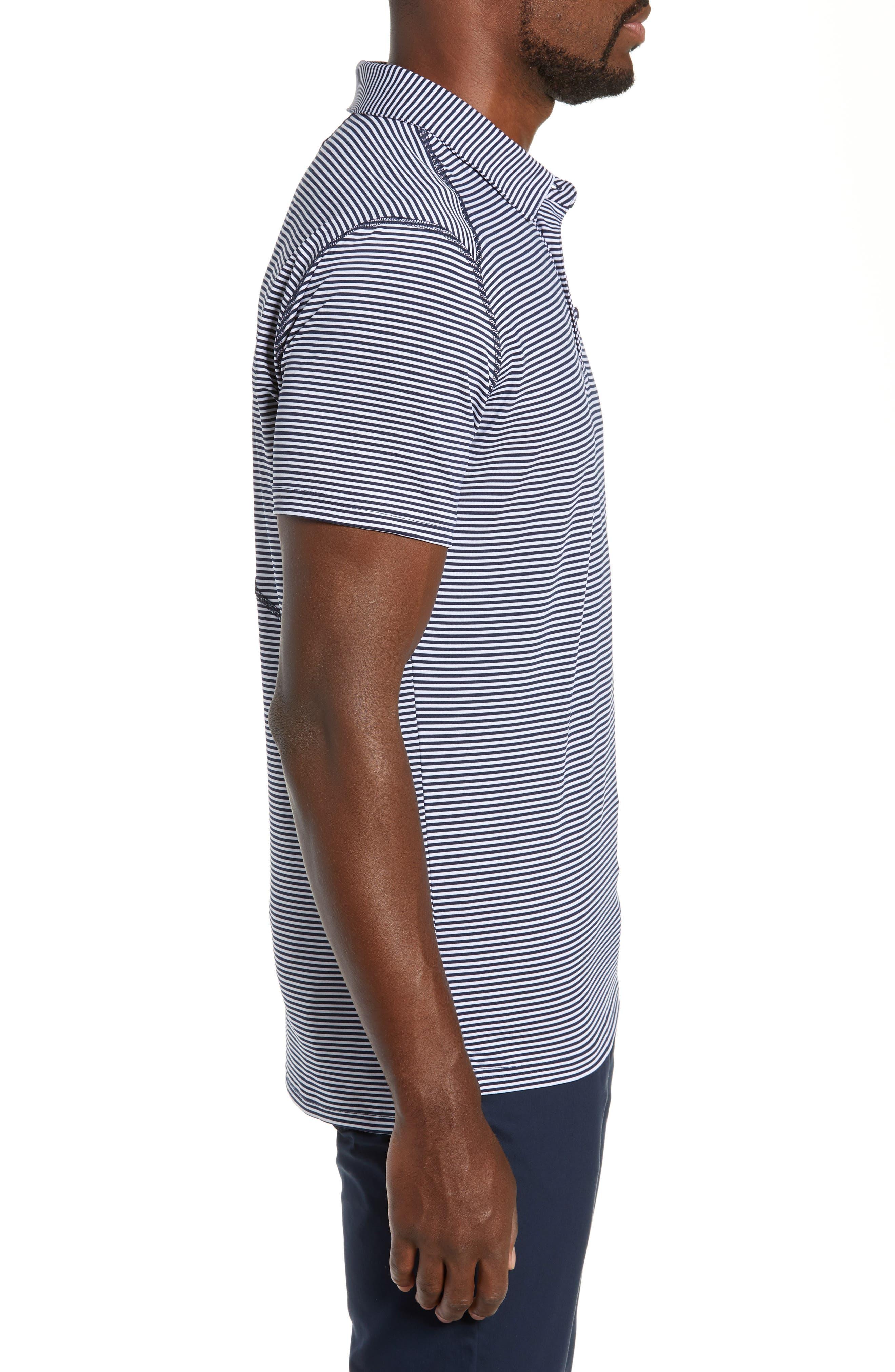 Flatiron Slim Fit Jacquard Jersey Polo,                             Alternate thumbnail 3, color,                             NAVY/ WHITE