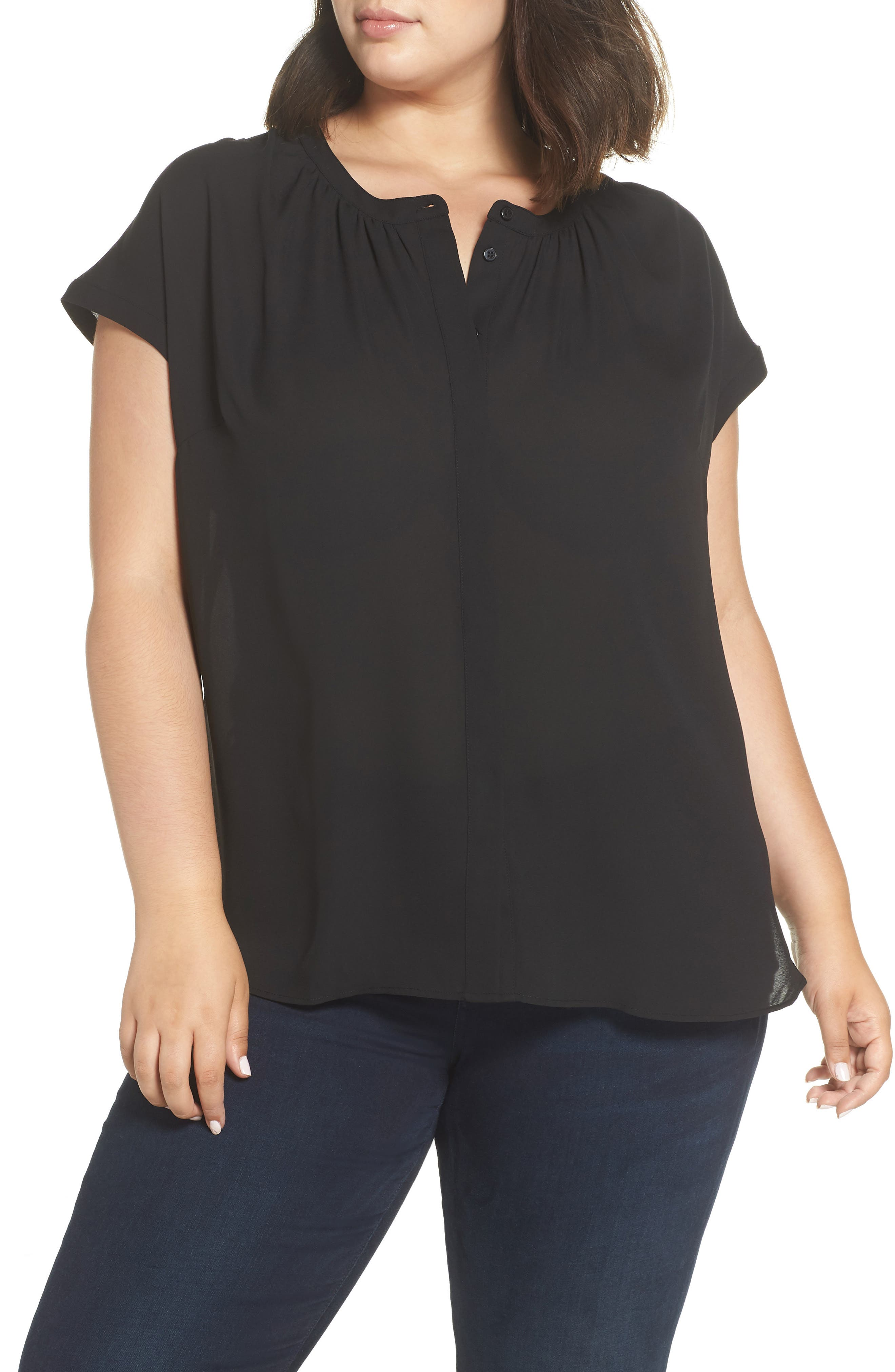 Gathered Neck Button Down Top,                             Main thumbnail 1, color,                             001