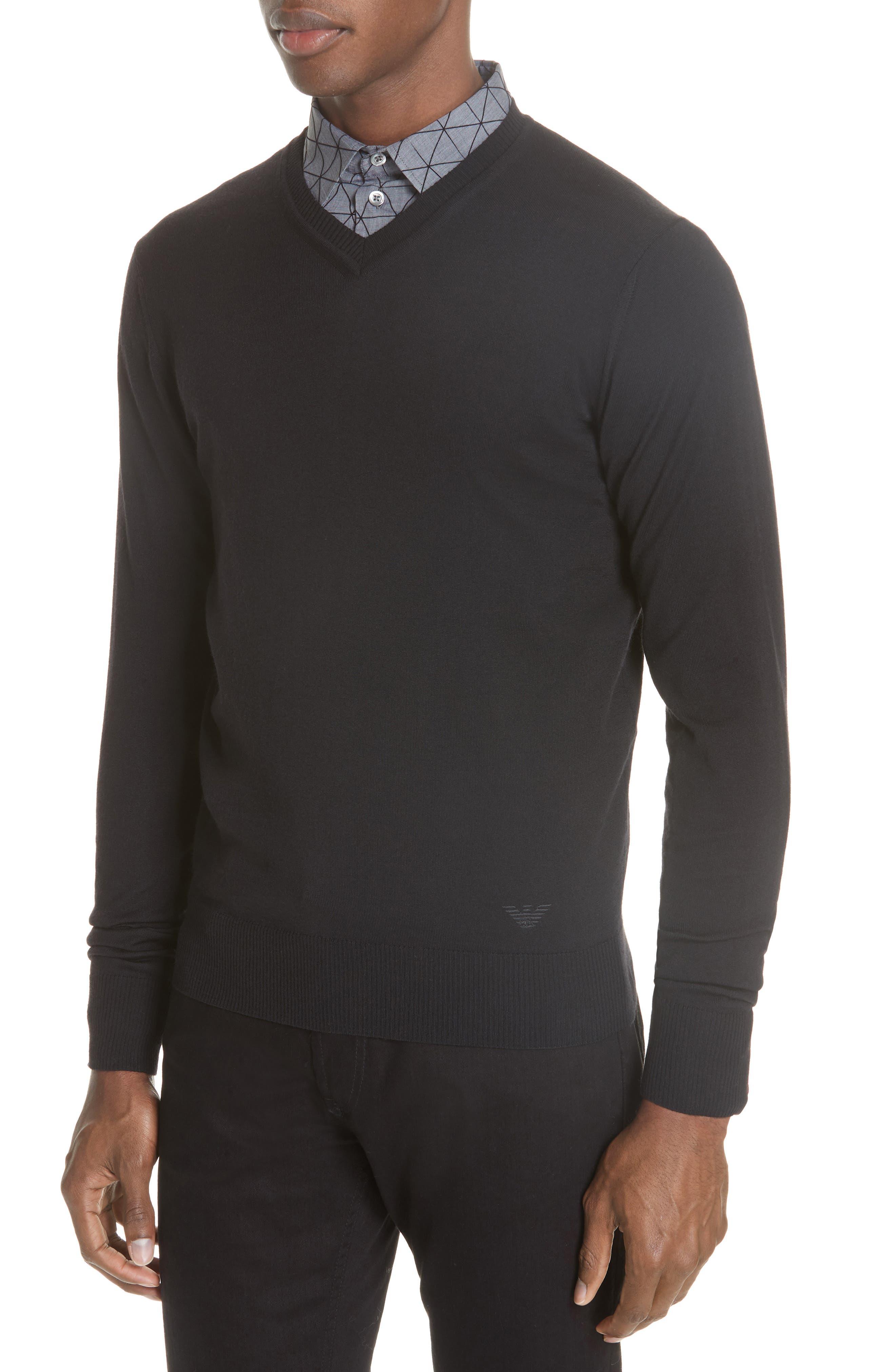 V-Neck Wool Sweater,                             Alternate thumbnail 4, color,                             BLACK
