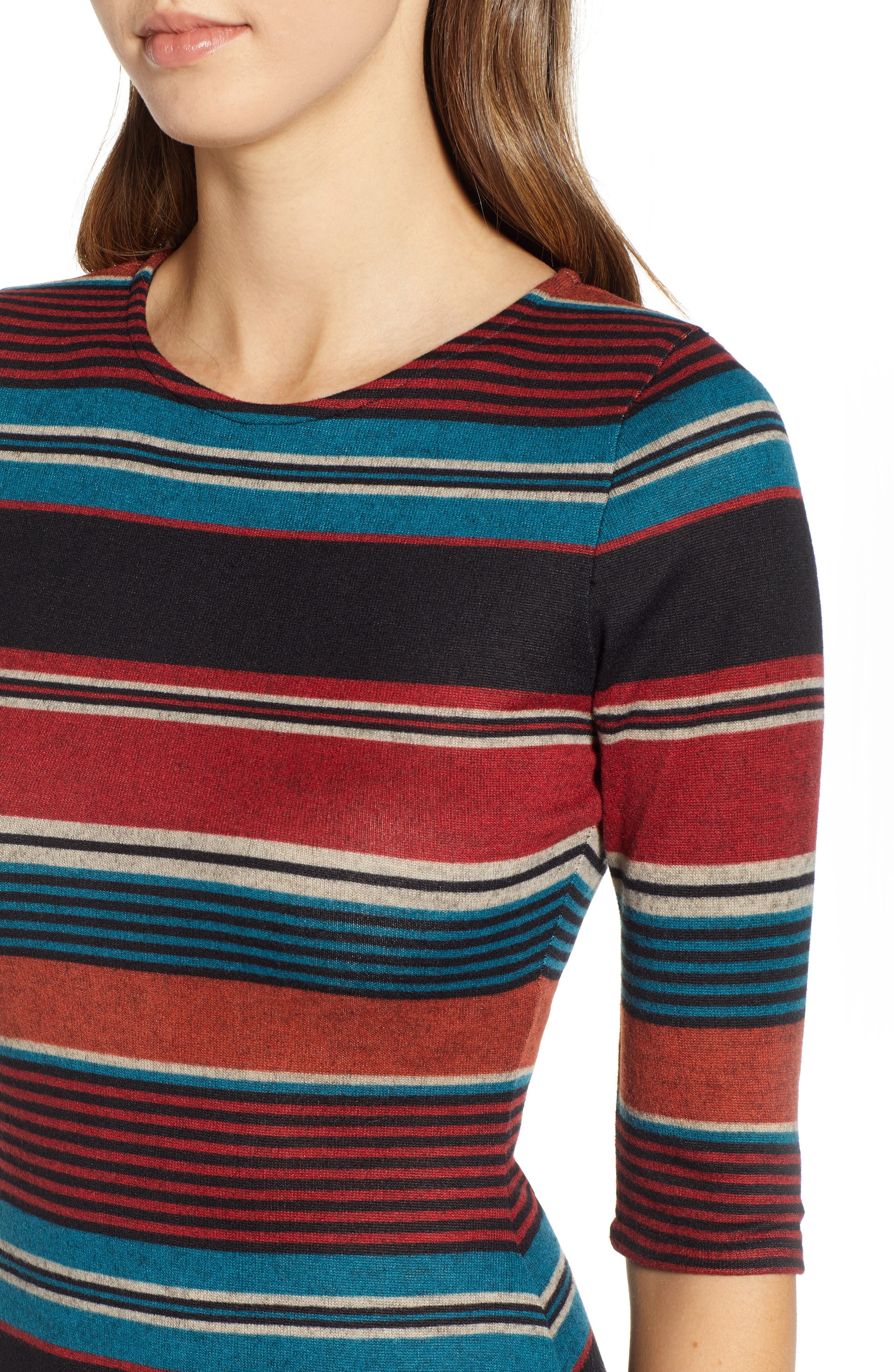 Knit Stripe Midi Dress,                             Alternate thumbnail 4, color,                             TEAL STRIPE