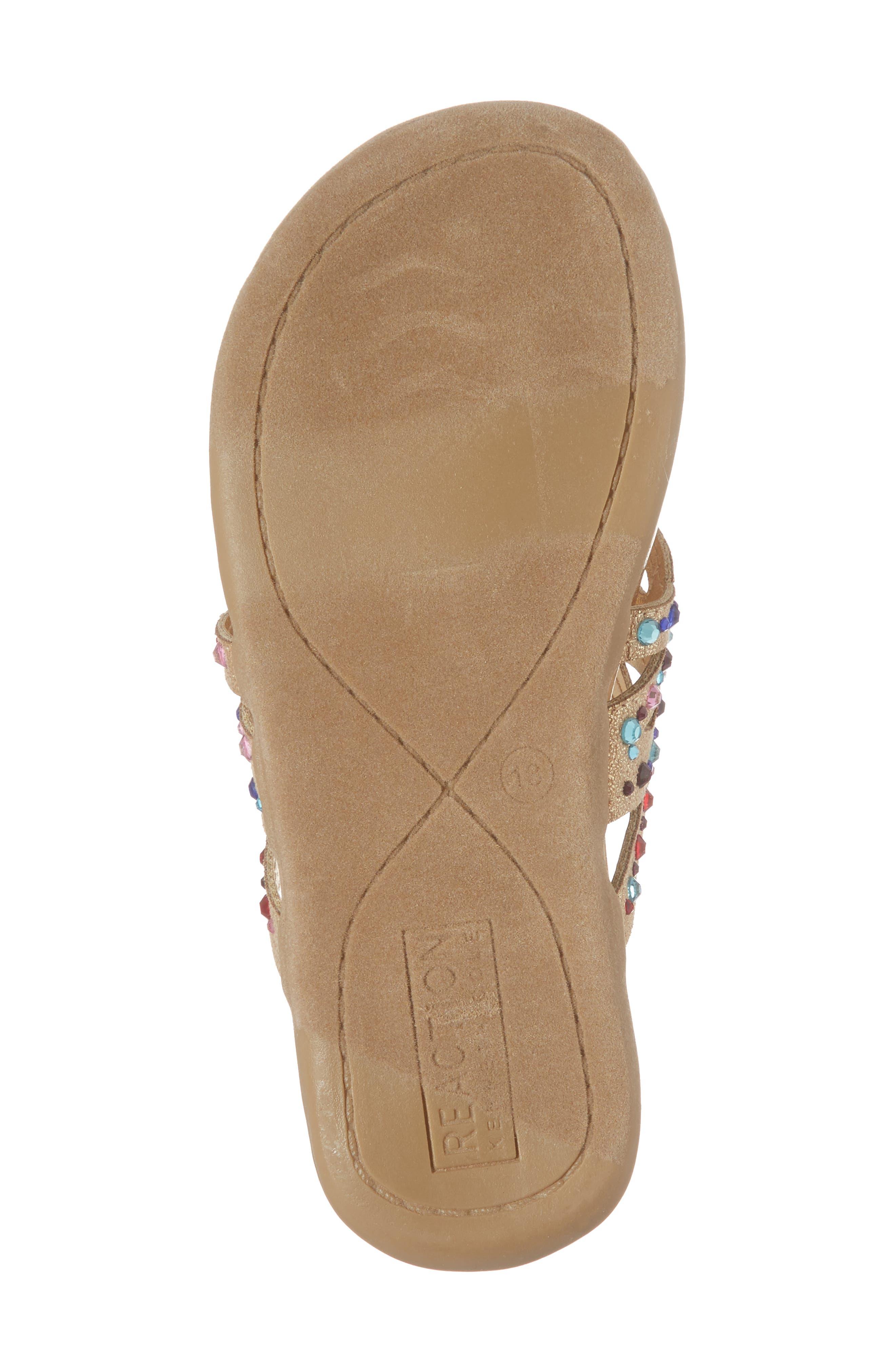 Kenneth Cole New York Flutter Metallic Crystal Thong Sandal,                             Alternate thumbnail 6, color,                             GOLD MULTI