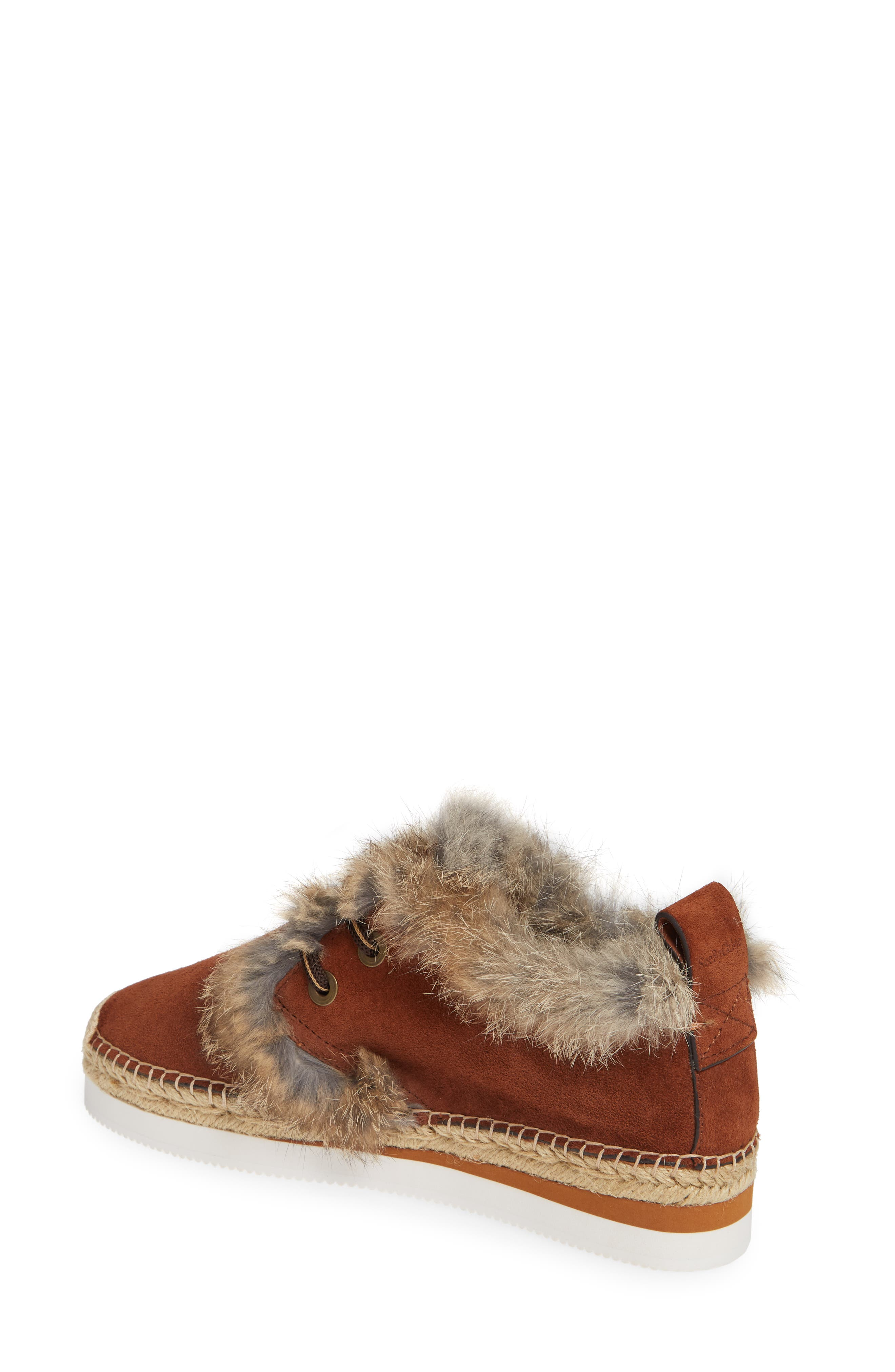 Glyn Genuine Shearling & Genuine Rabbit Fur Lace-Up Espadrille,                             Alternate thumbnail 2, color,                             COLA