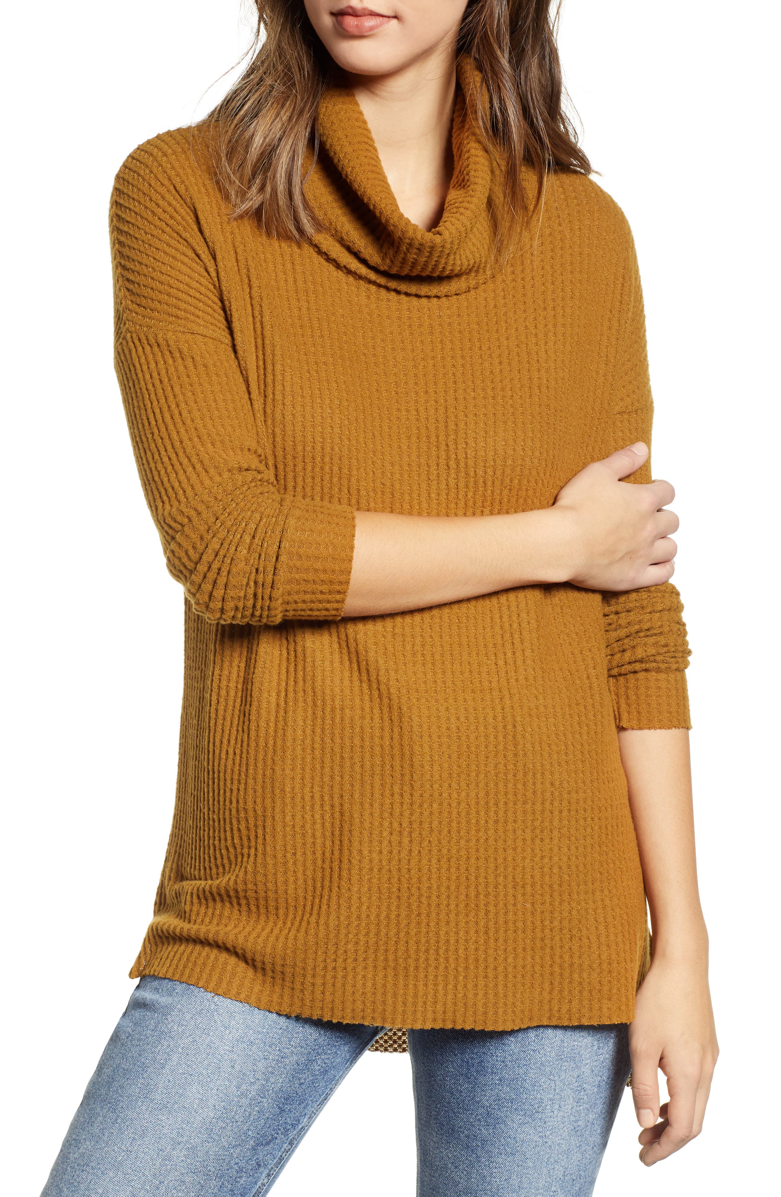 Funnel Neck Tunic,                             Main thumbnail 1, color,                             BROWN BRONZE