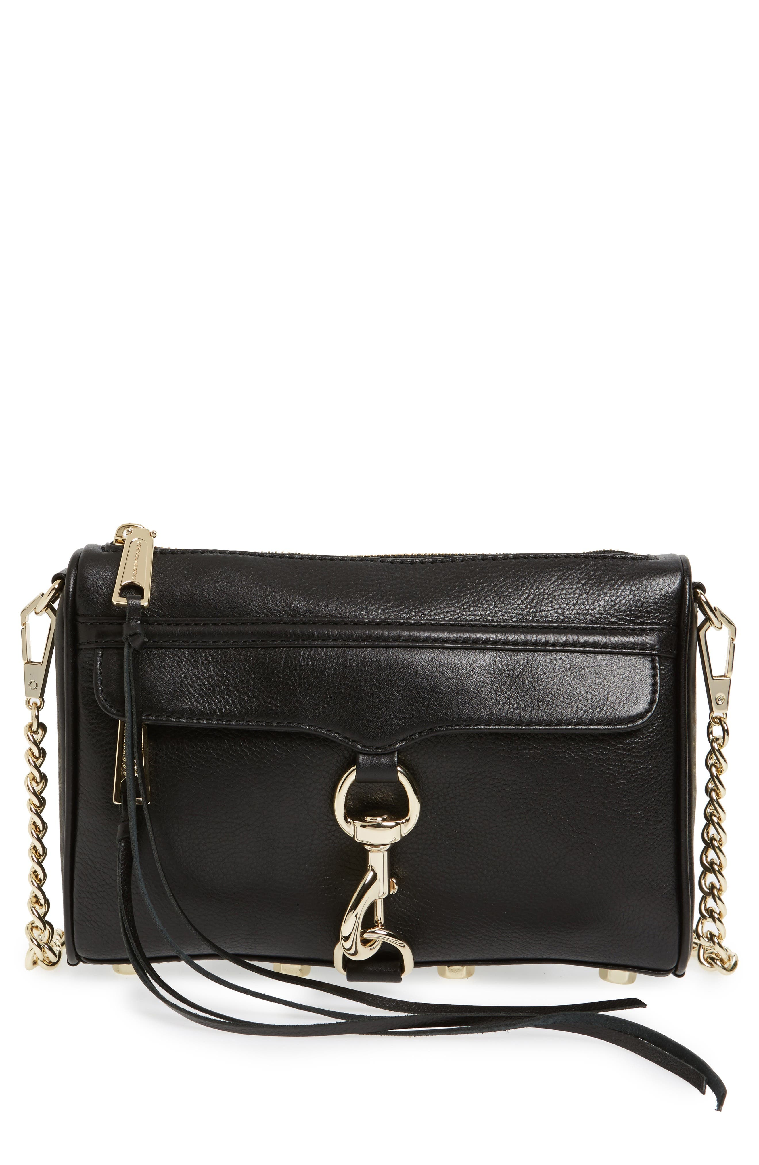 Mini MAC Convertible Crossbody Bag,                         Main,                         color, BLACK LEATHER/ LT GOLD HRDWR