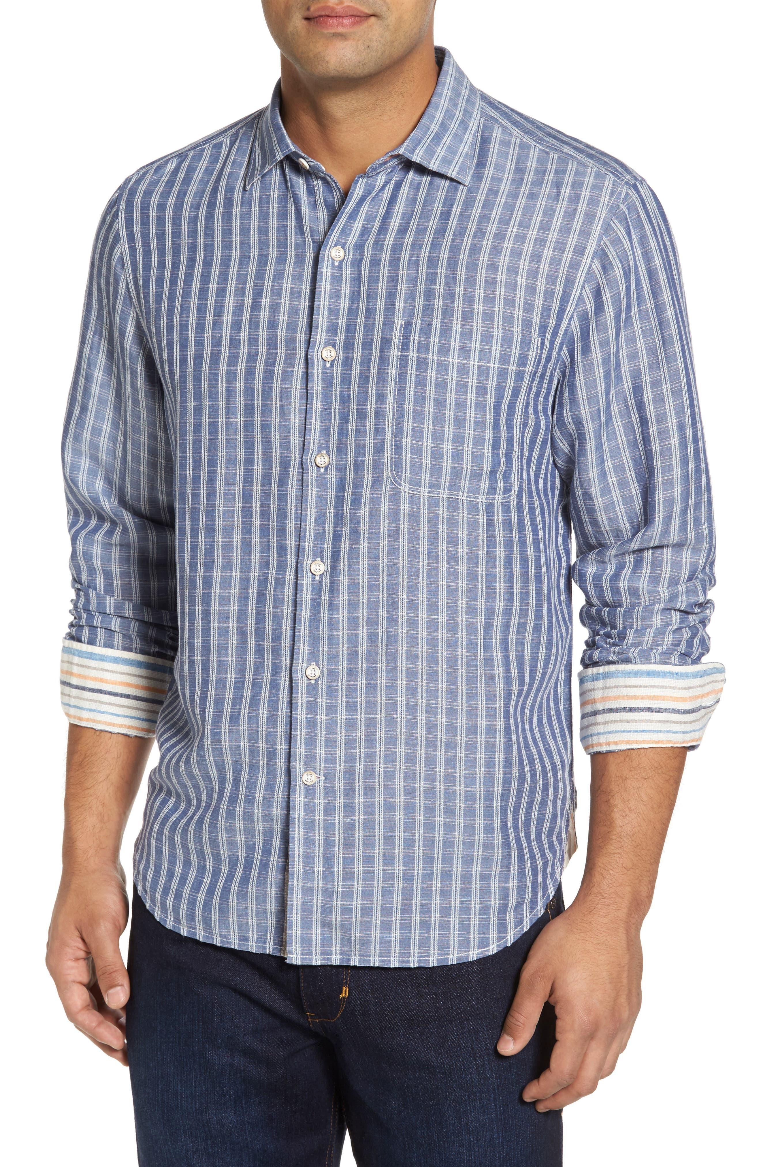 Plaid Sand Linen Blend Sport Shirt,                             Main thumbnail 2, color,