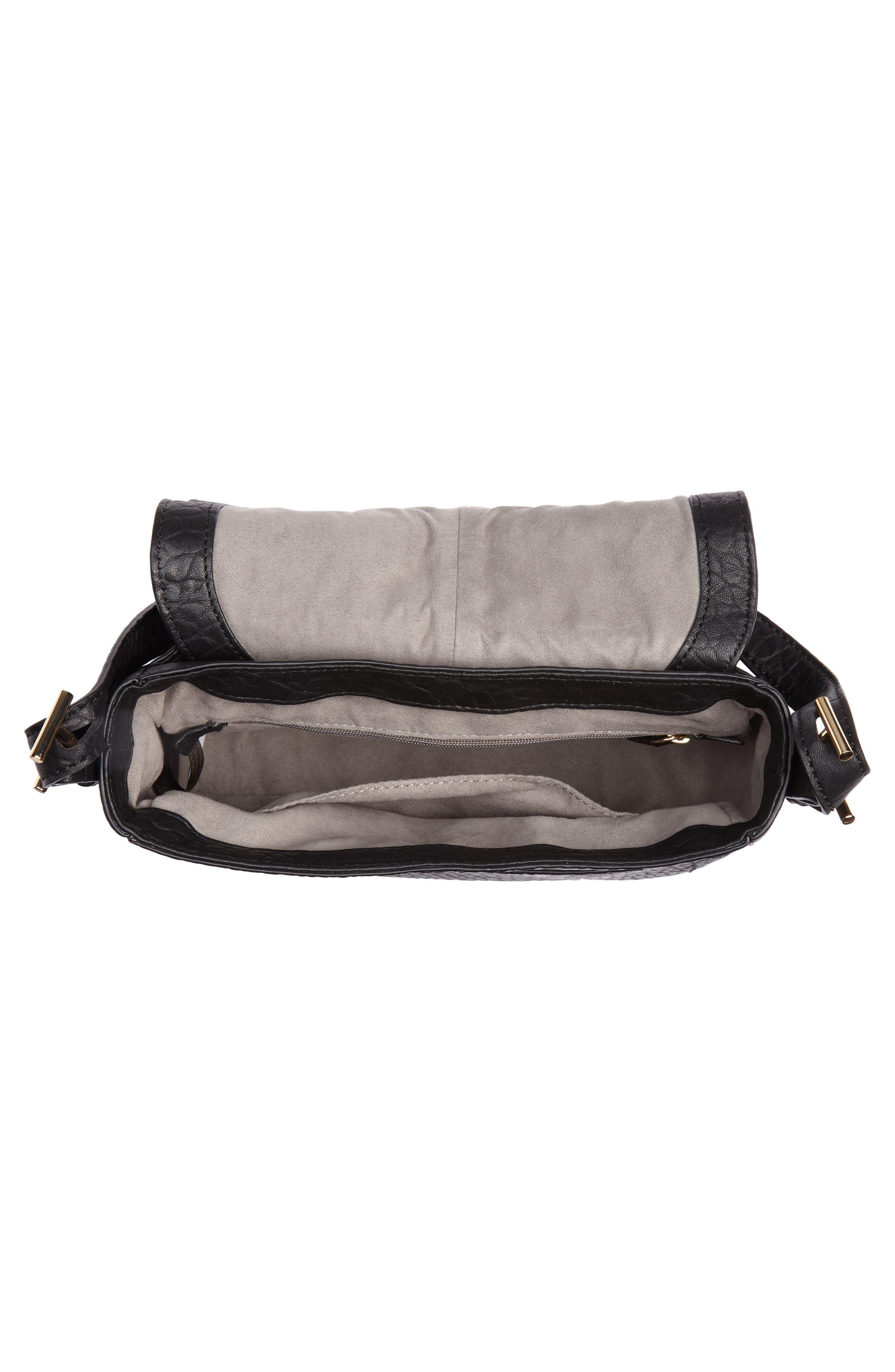 Fava Leather Crossbody Bag,                             Alternate thumbnail 4, color,                             001