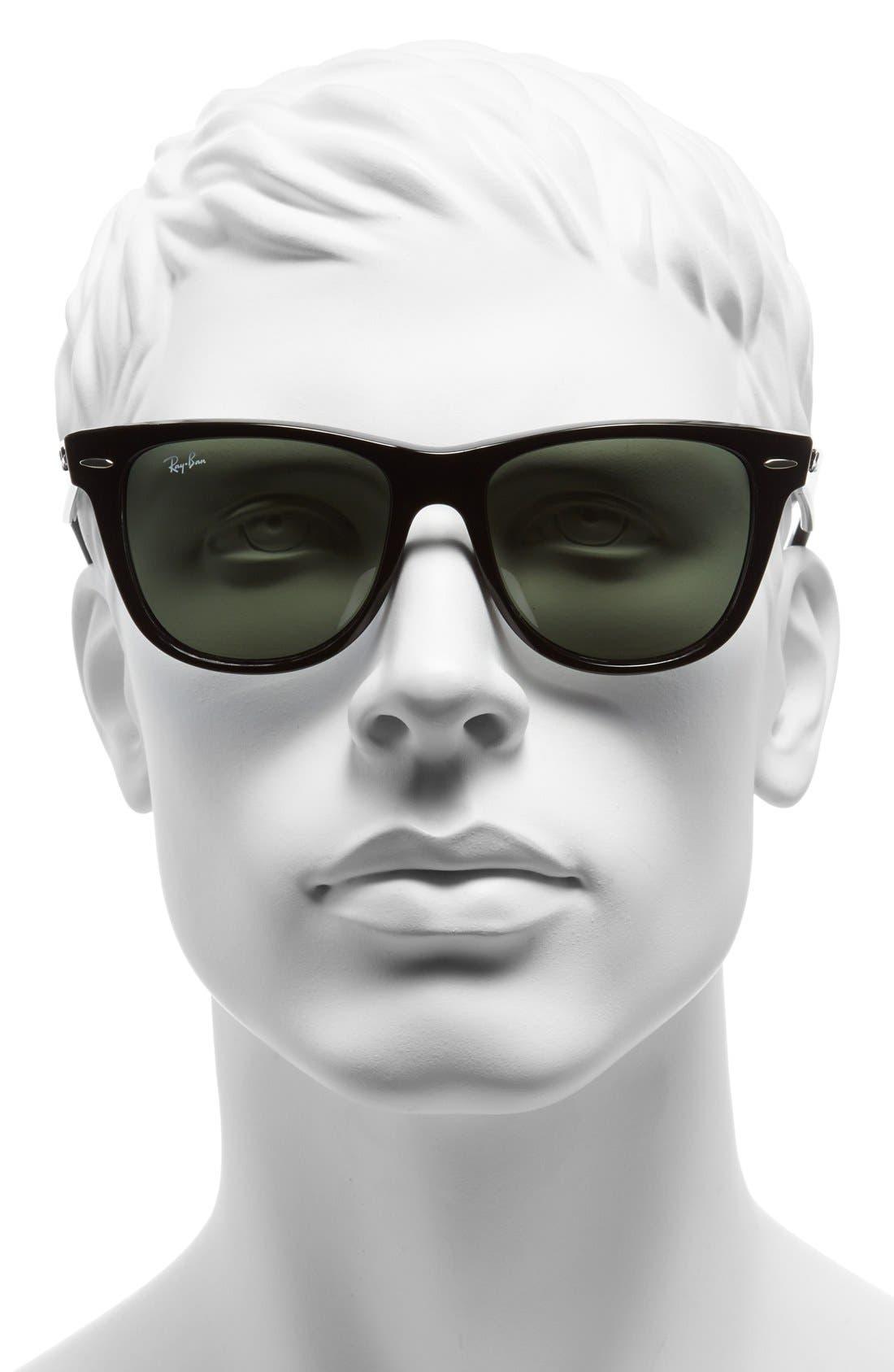 RAY-BAN,                             Classic Wayfarer 54mm Sunglasses,                             Alternate thumbnail 3, color,                             BLACK/ GREEN