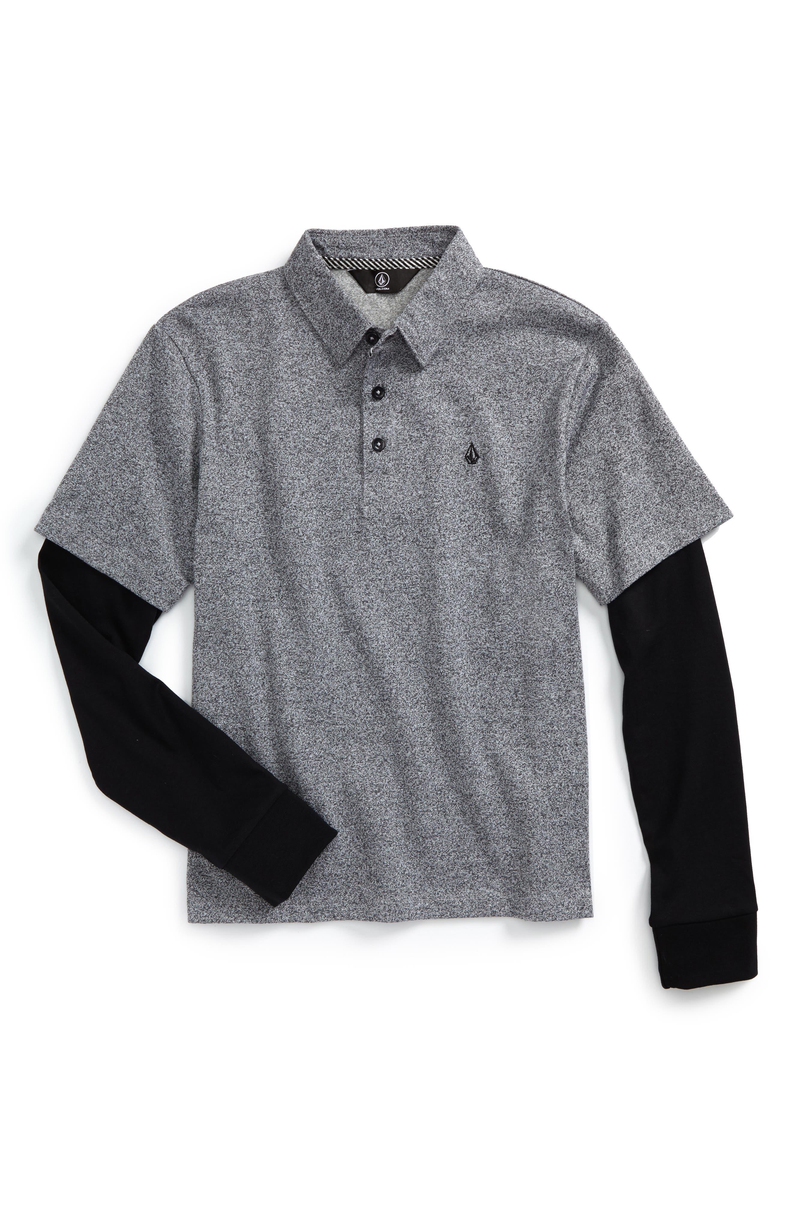 Wowzer Layered Long Sleeve Polo,                             Main thumbnail 1, color,