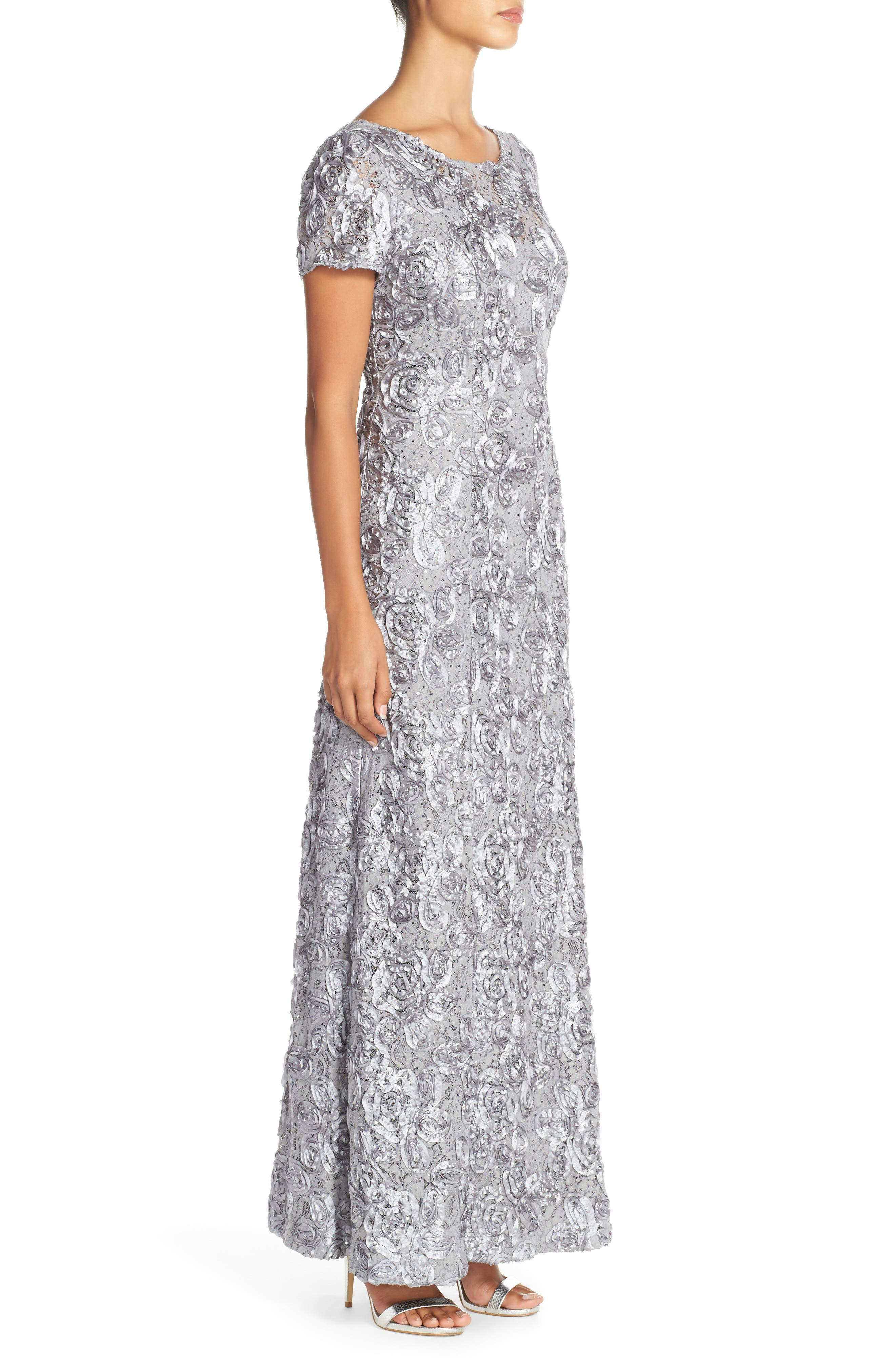 Embellished Lace Gown,                             Alternate thumbnail 3, color,                             DOVE