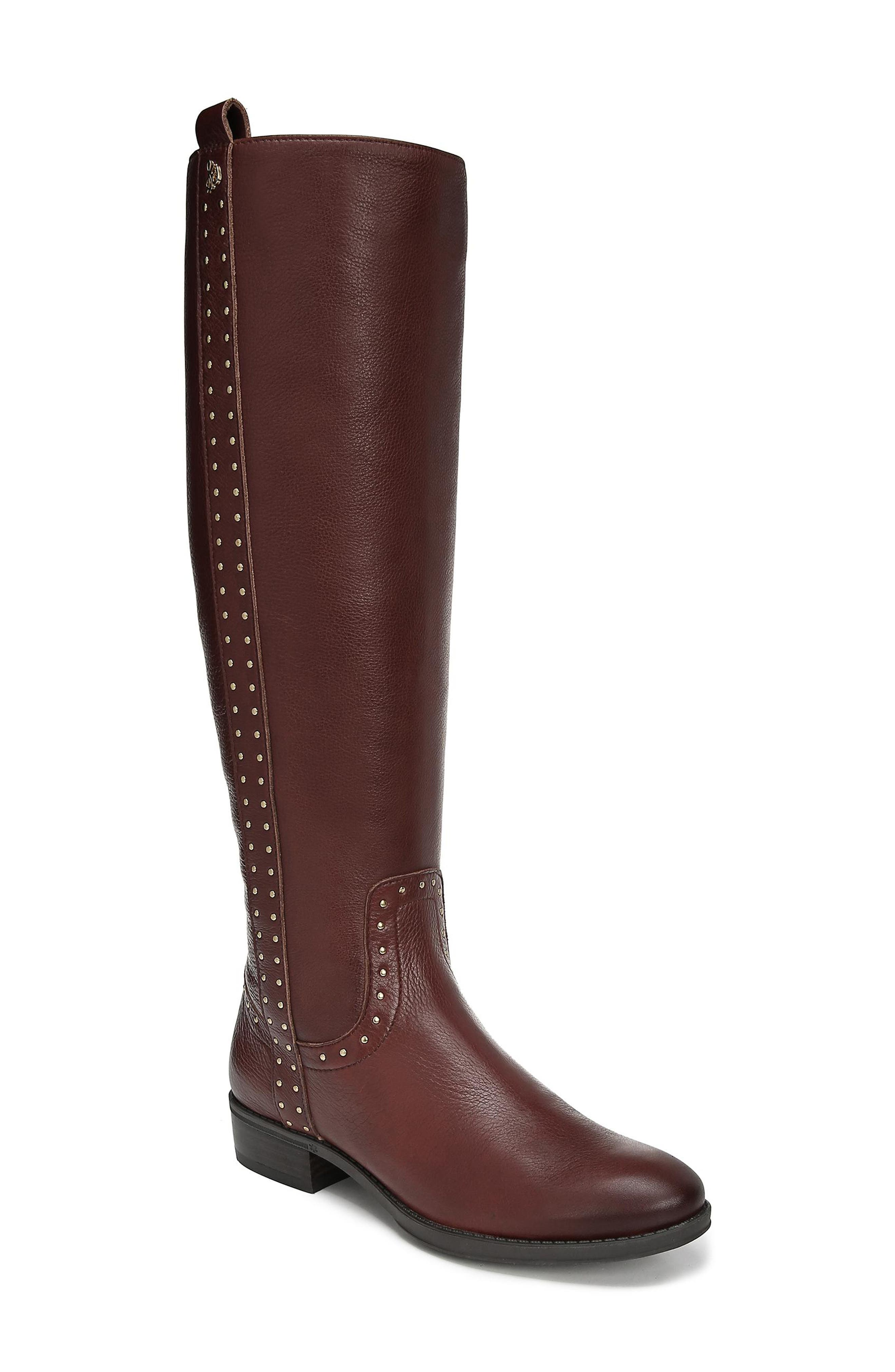 Prina Riding Boot,                             Main thumbnail 1, color,                             REDWOOD BROWN LEATHER