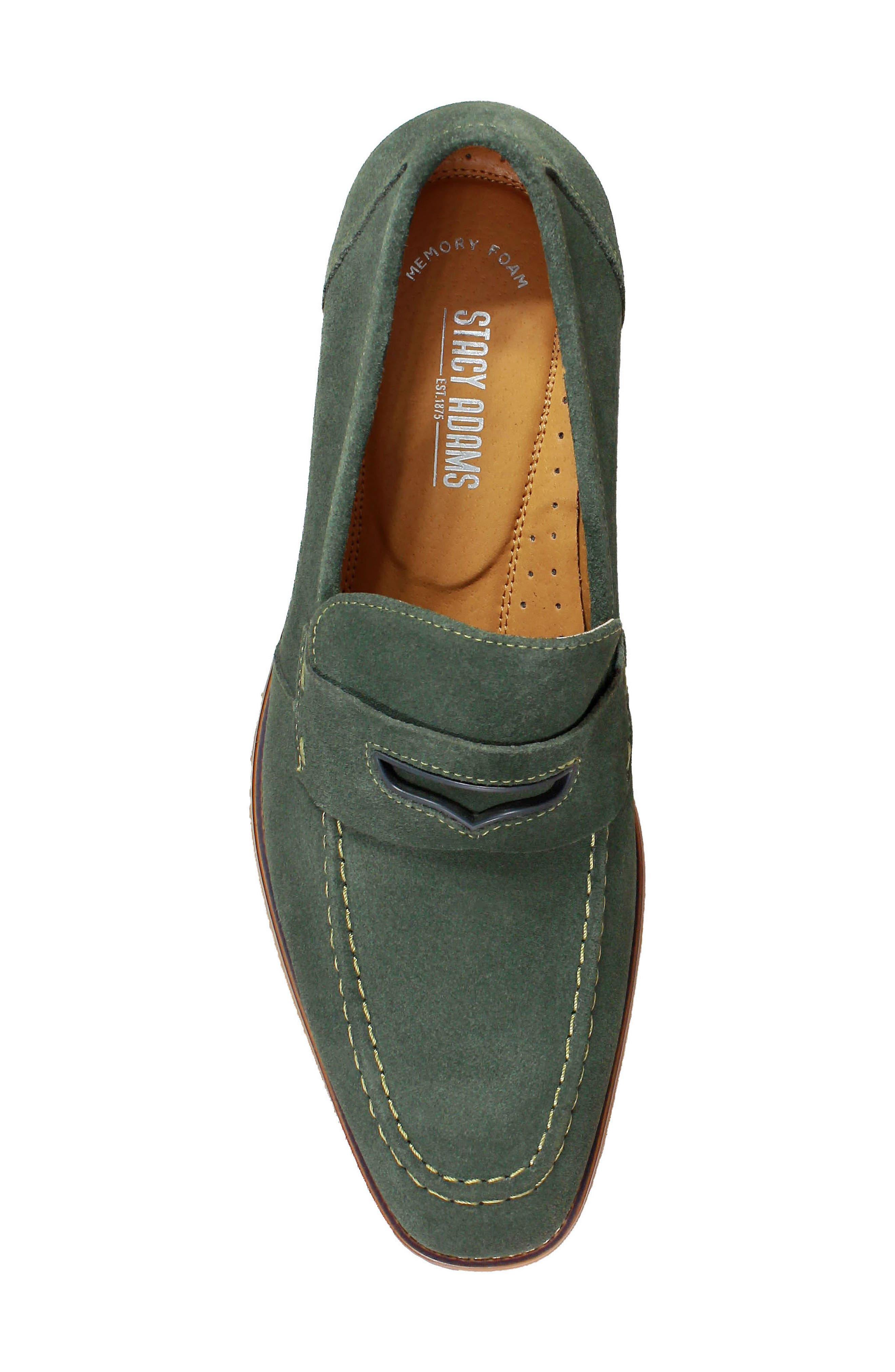 Colfax Apron Toe Penny Loafer,                             Alternate thumbnail 5, color,                             DARK GREEN SUEDE