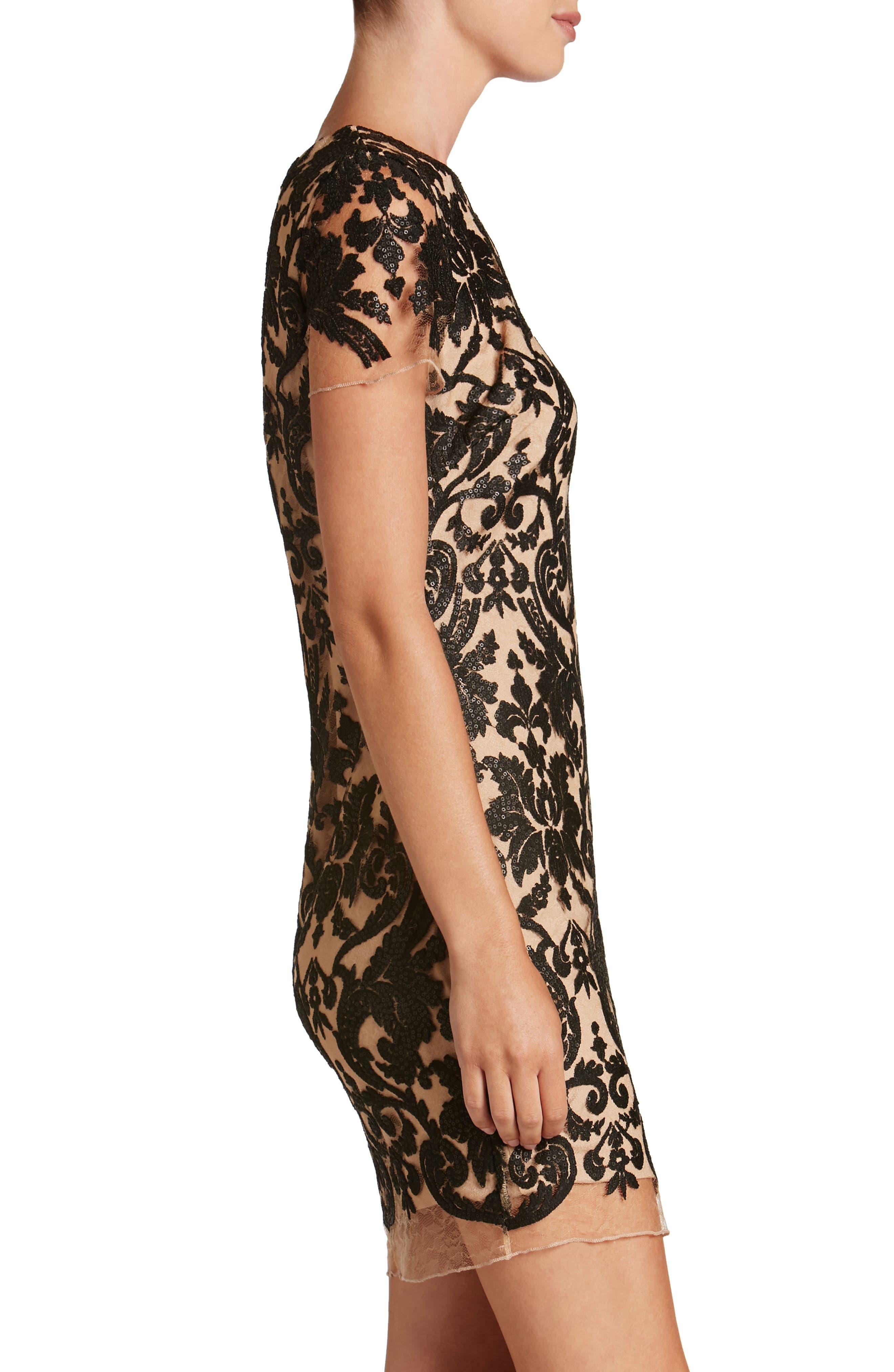 Megan Sequin Lace Sheath Dress,                             Alternate thumbnail 3, color,                             014