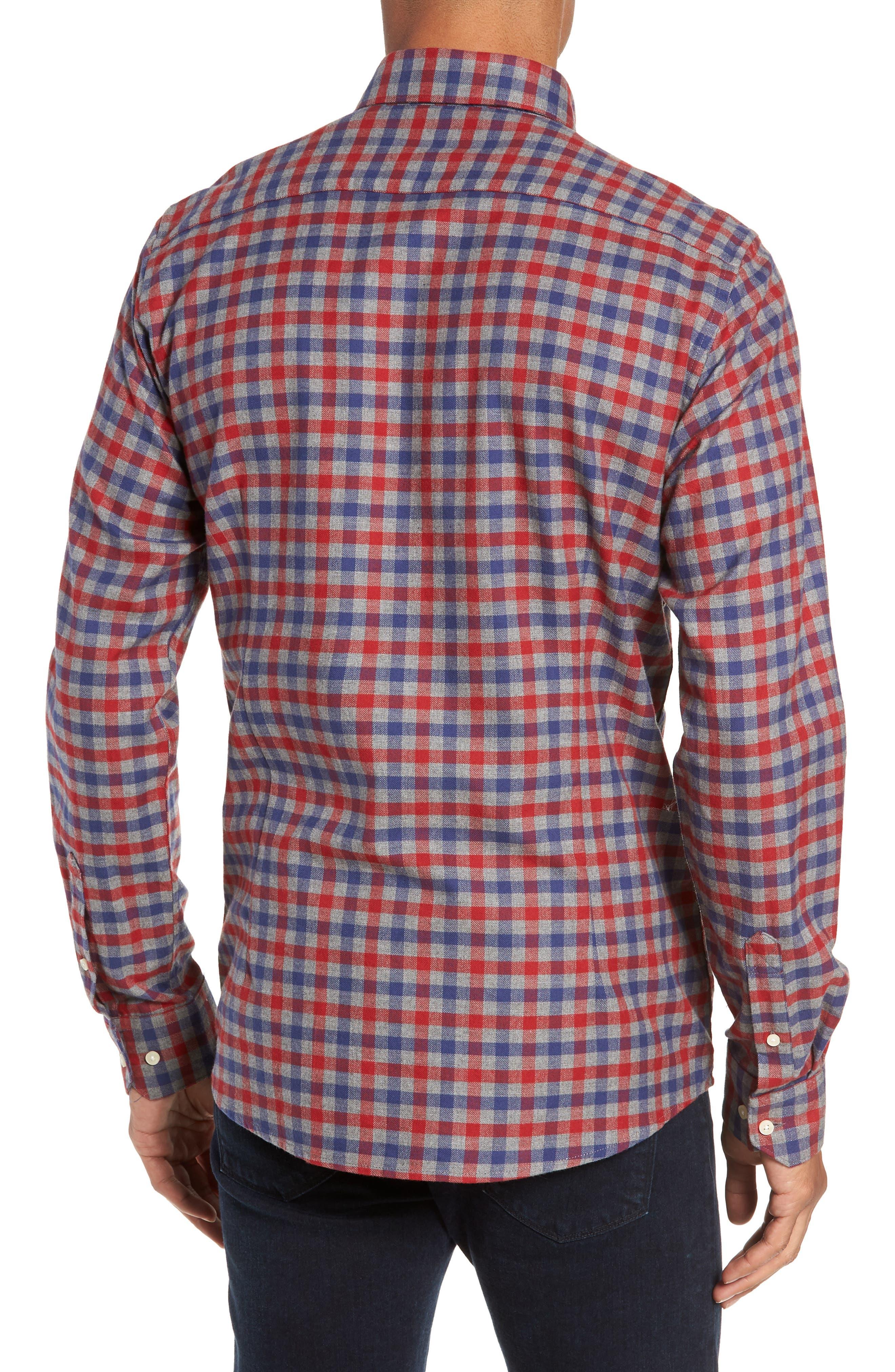 Moss Check Flannel Sport Shirt,                             Alternate thumbnail 3, color,                             630