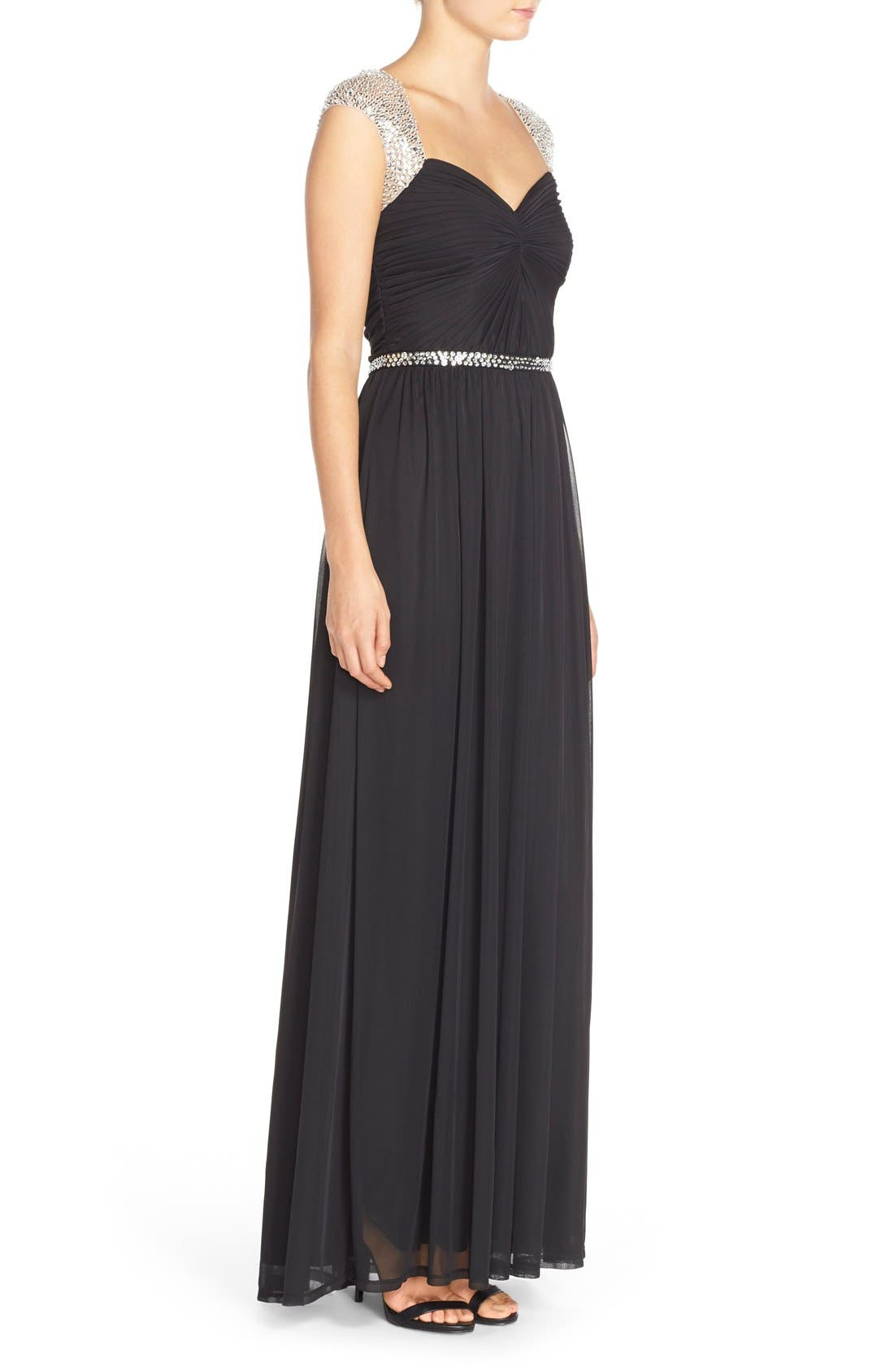 Embellished Ruched Jersey Gown,                             Alternate thumbnail 2, color,                             001