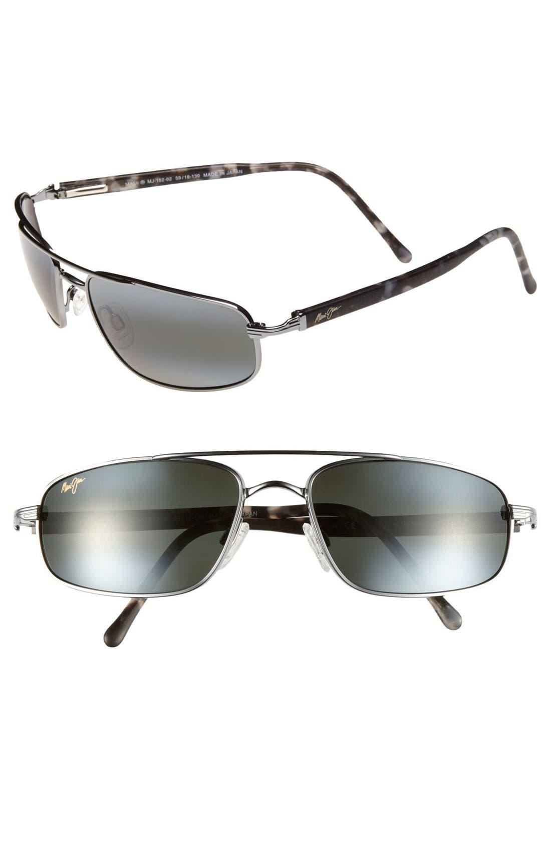 'Kahuna -PolarizedPlus<sup>®</sup>2' 59mm Sunglasses,                         Main,                         color, GUN